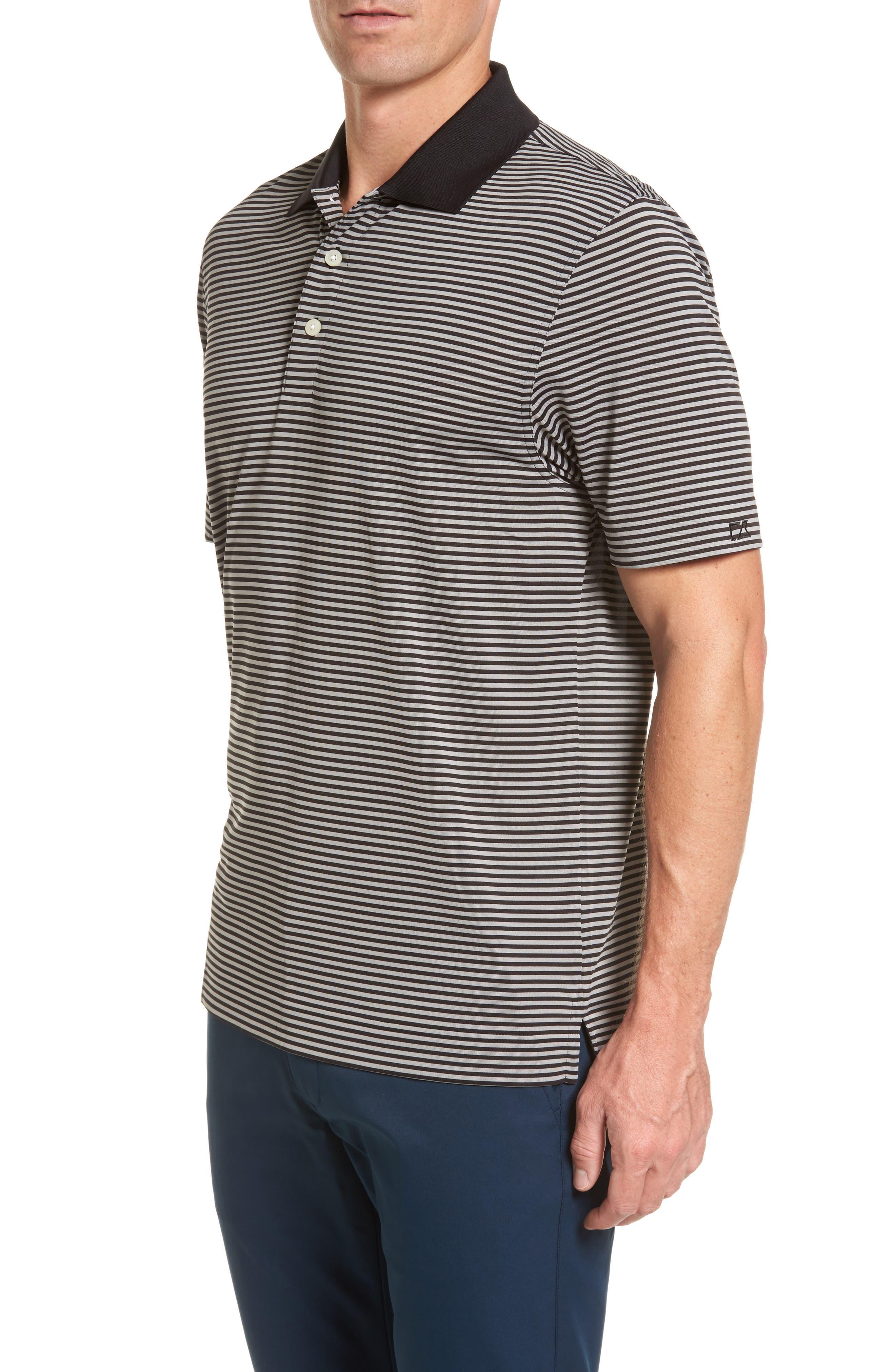 Trevor DryTec Moisture Wicking Golf Polo,                             Alternate thumbnail 3, color,                             BLACK/ OXIDE