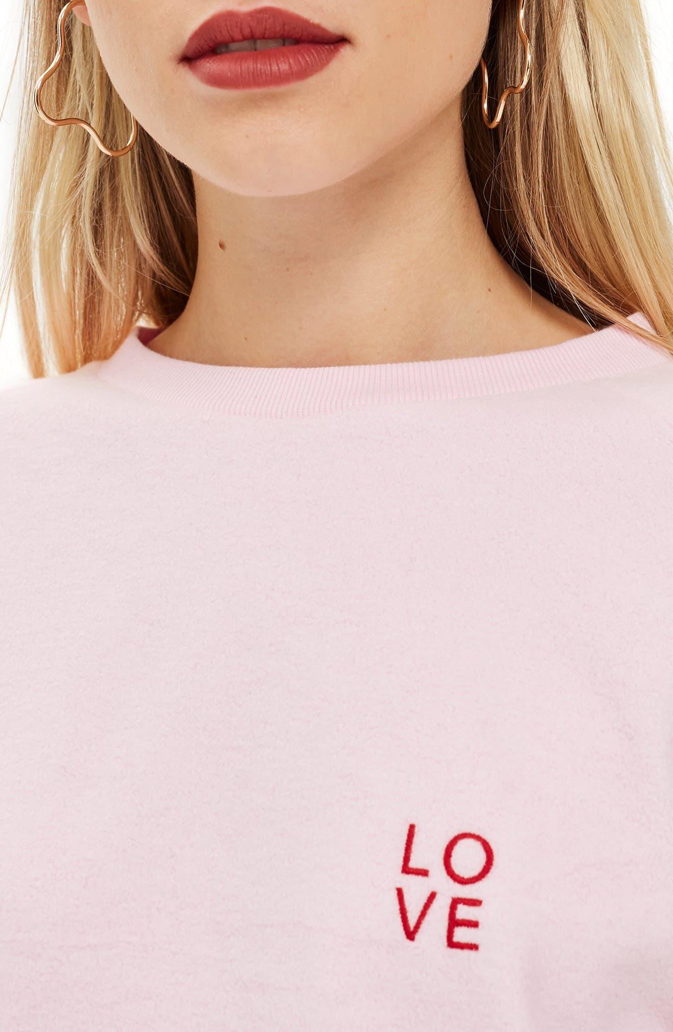 by Tee & Cake Logo Logo Sweatshirt,                             Alternate thumbnail 3, color,                             PINK