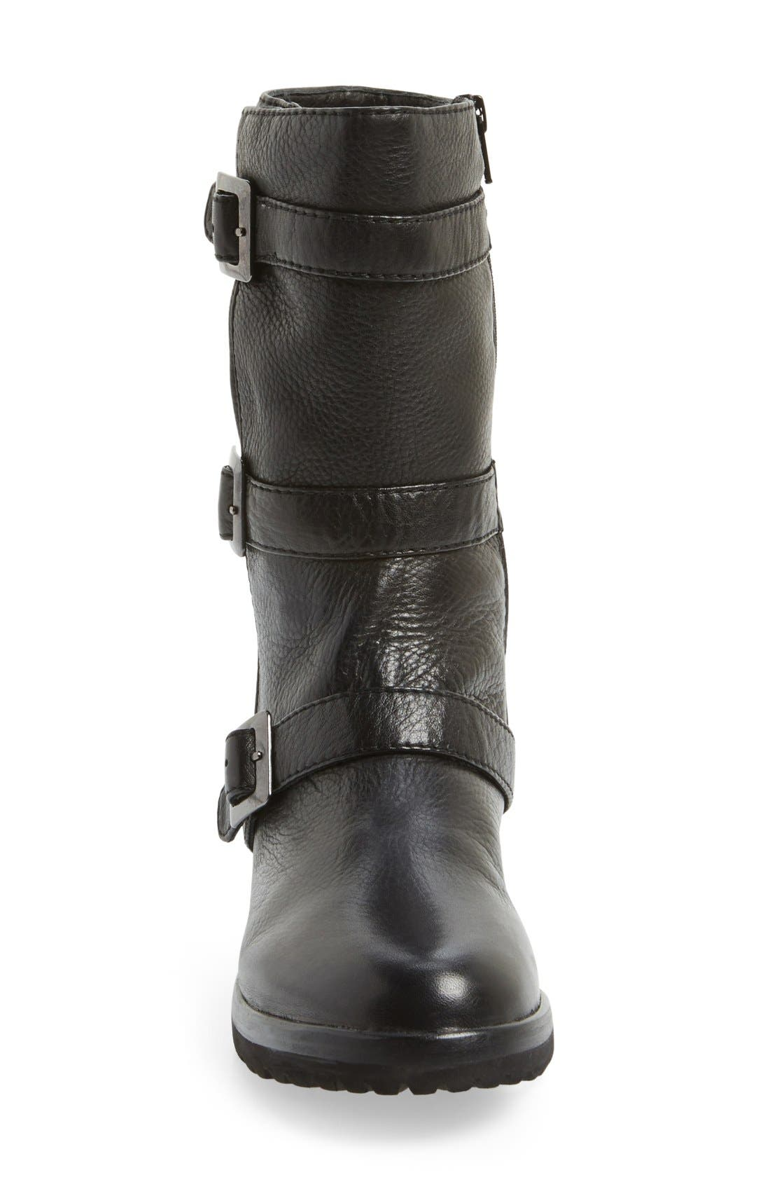 L'Amour Des Pieds 'Racey' Belted Mid Boot,                             Alternate thumbnail 4, color,                             001