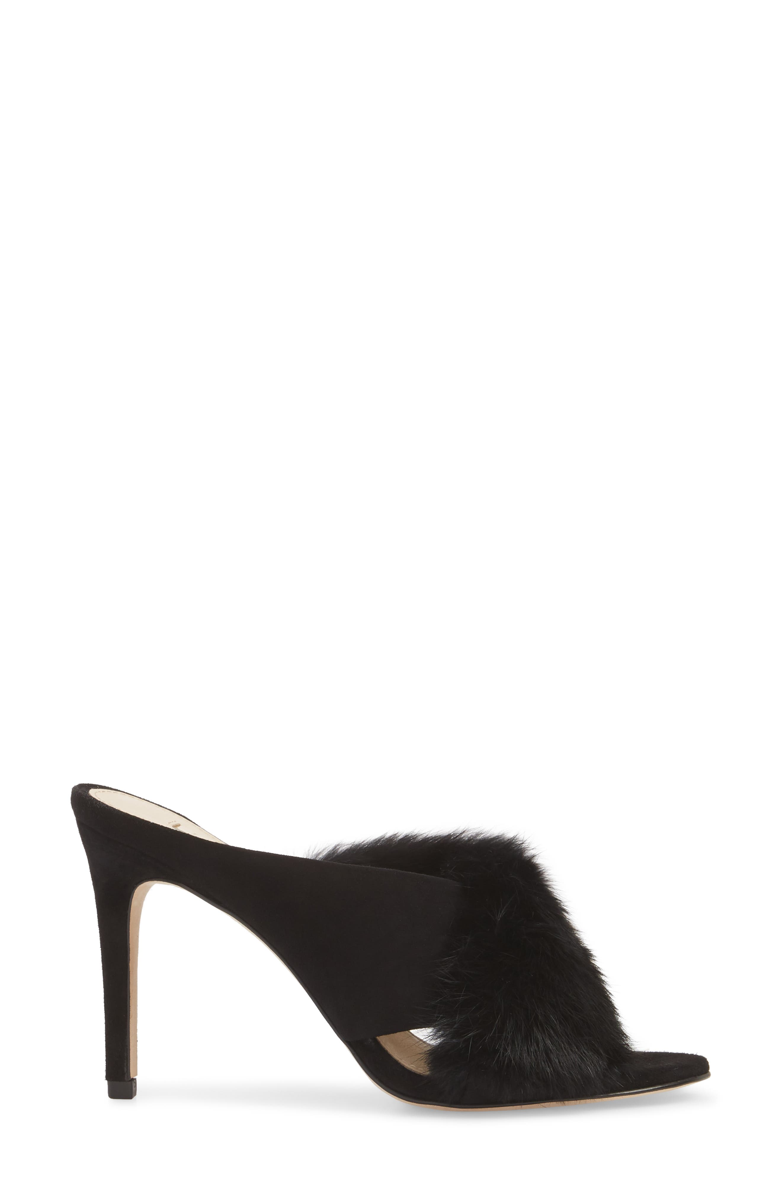 Halloway Genuine Rabbit Fur Sandal,                             Alternate thumbnail 3, color,                             BLACK RABBIT FUR