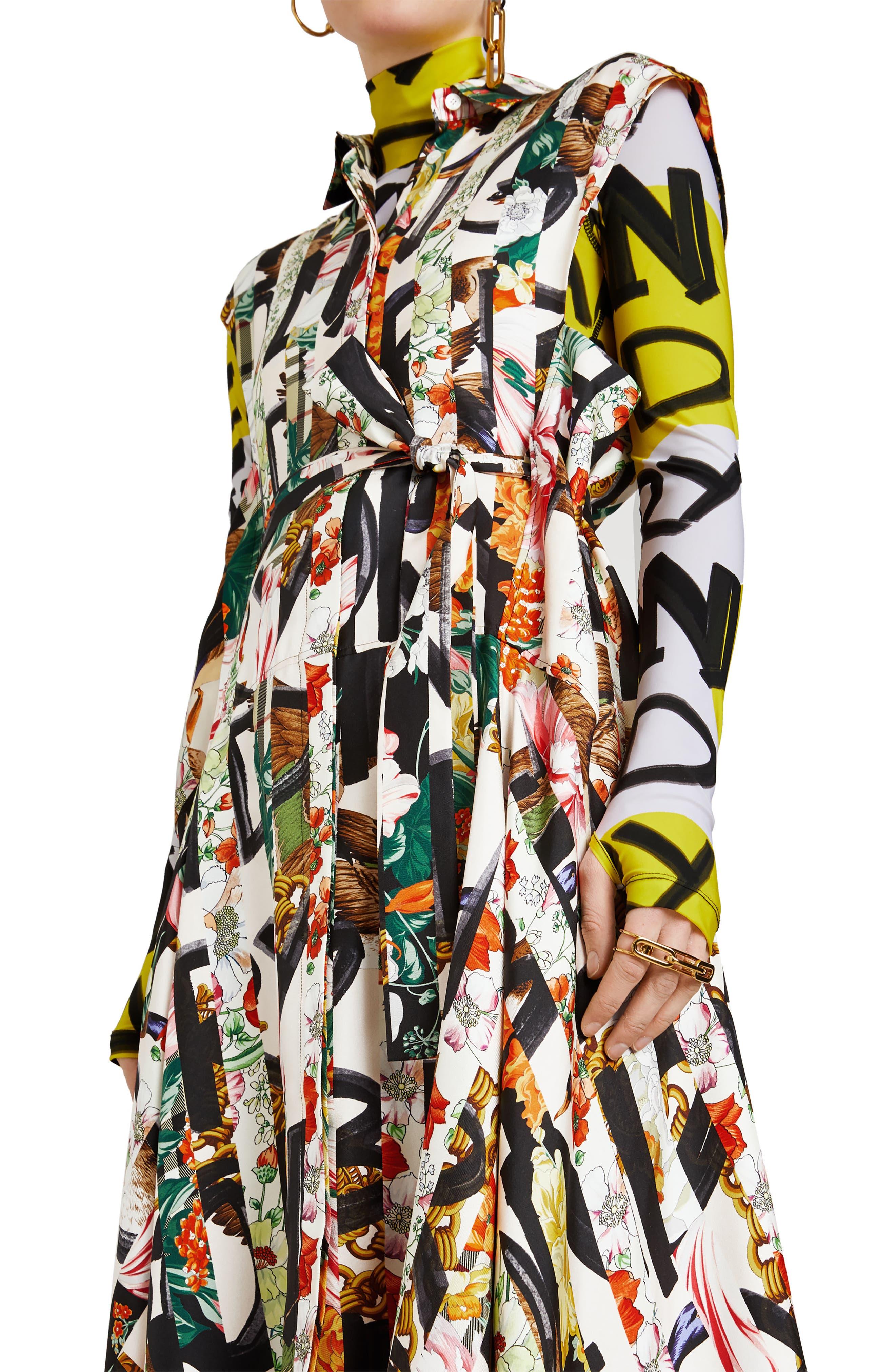 Sacha Silk Dress,                             Alternate thumbnail 4, color,                             MULTICOLOUR IP PTTN