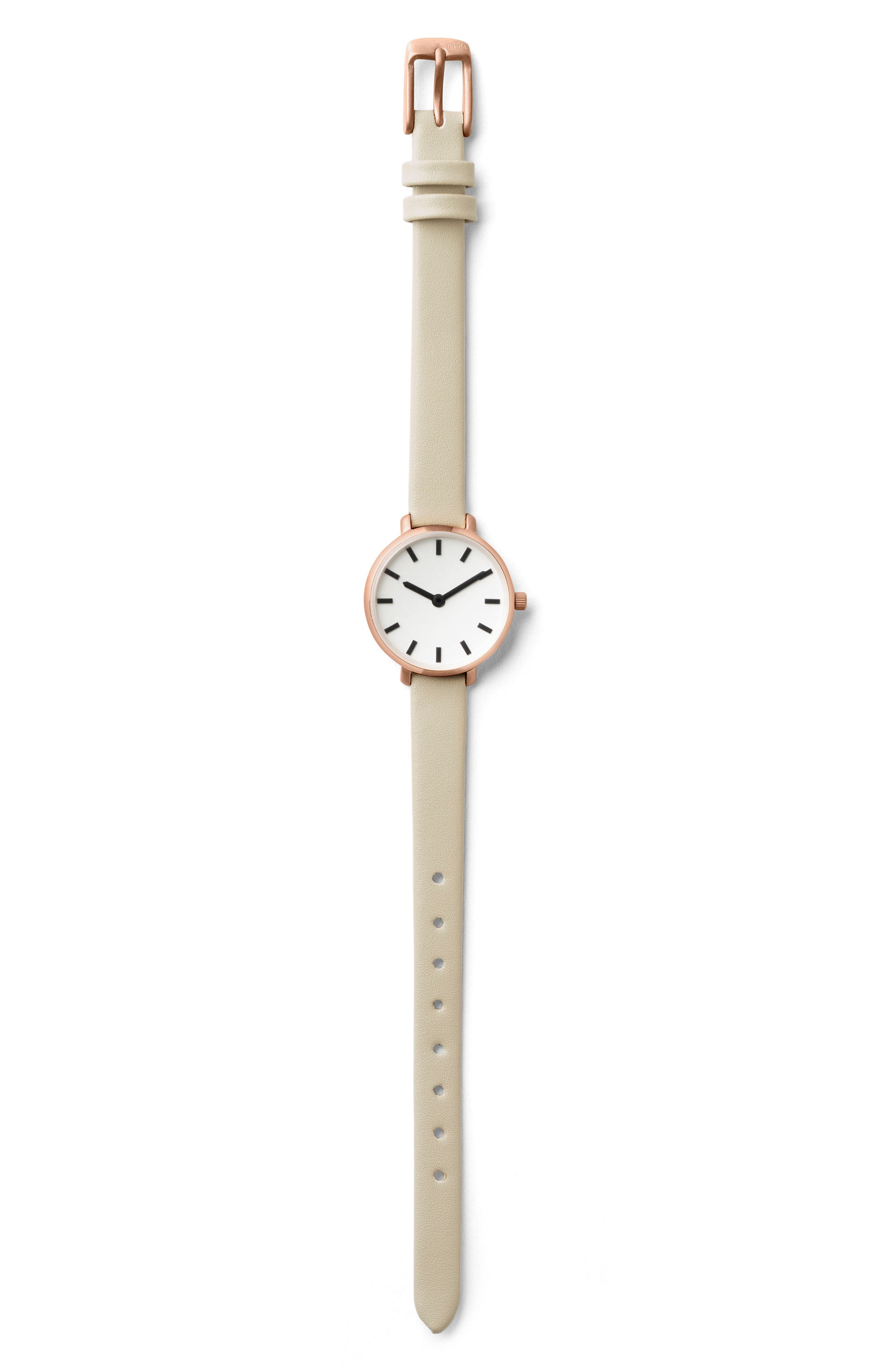 Beverly Round Leather Strap Watch, 26mm,                             Alternate thumbnail 3, color,                             GREY/ ROSE GOLD