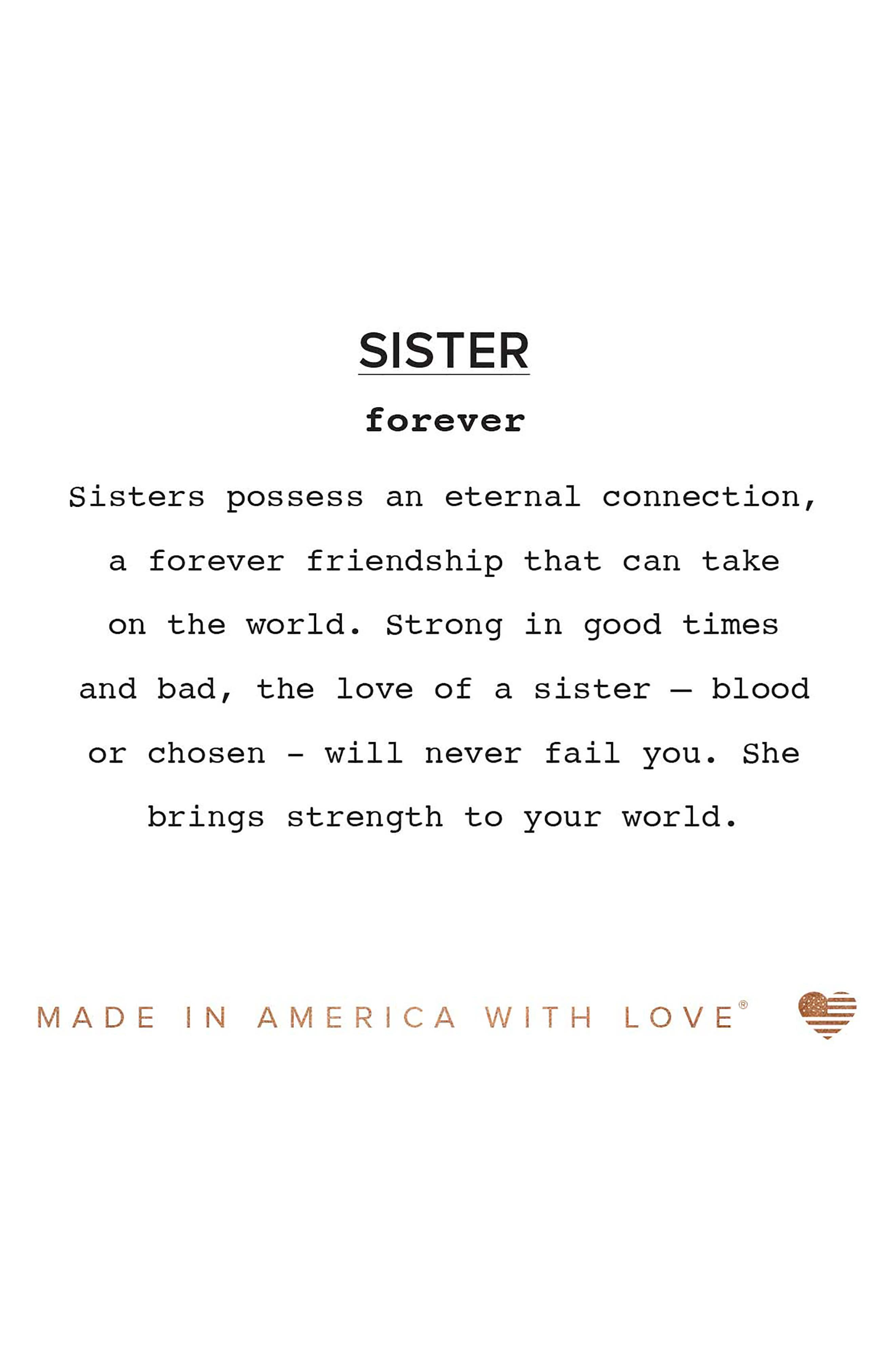 Because I Love You Sister Charm Bangle,                             Alternate thumbnail 3, color,                             SILVER
