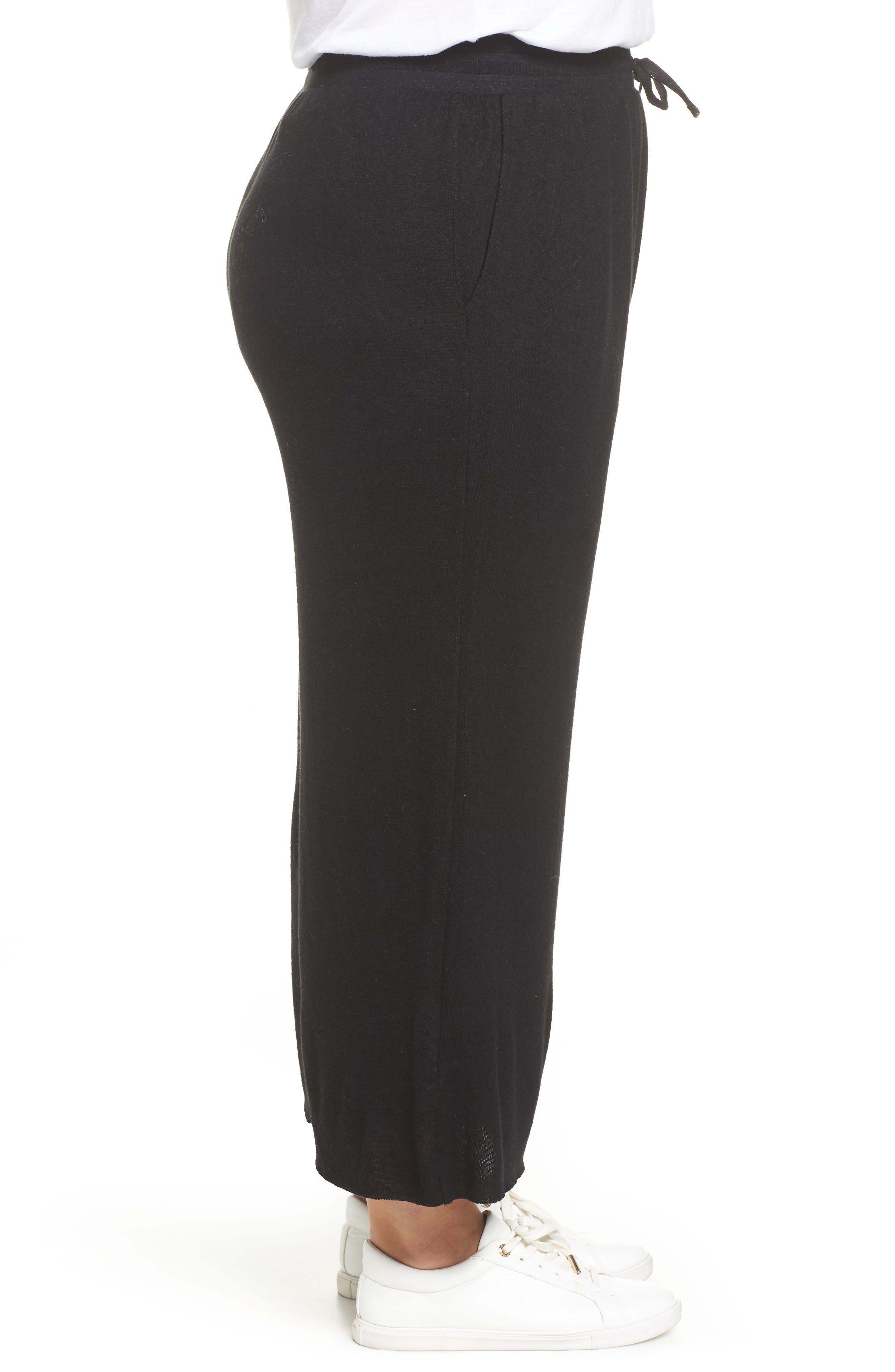High Rise Wide Leg Knit Crop Pants,                             Alternate thumbnail 3, color,                             BLACK
