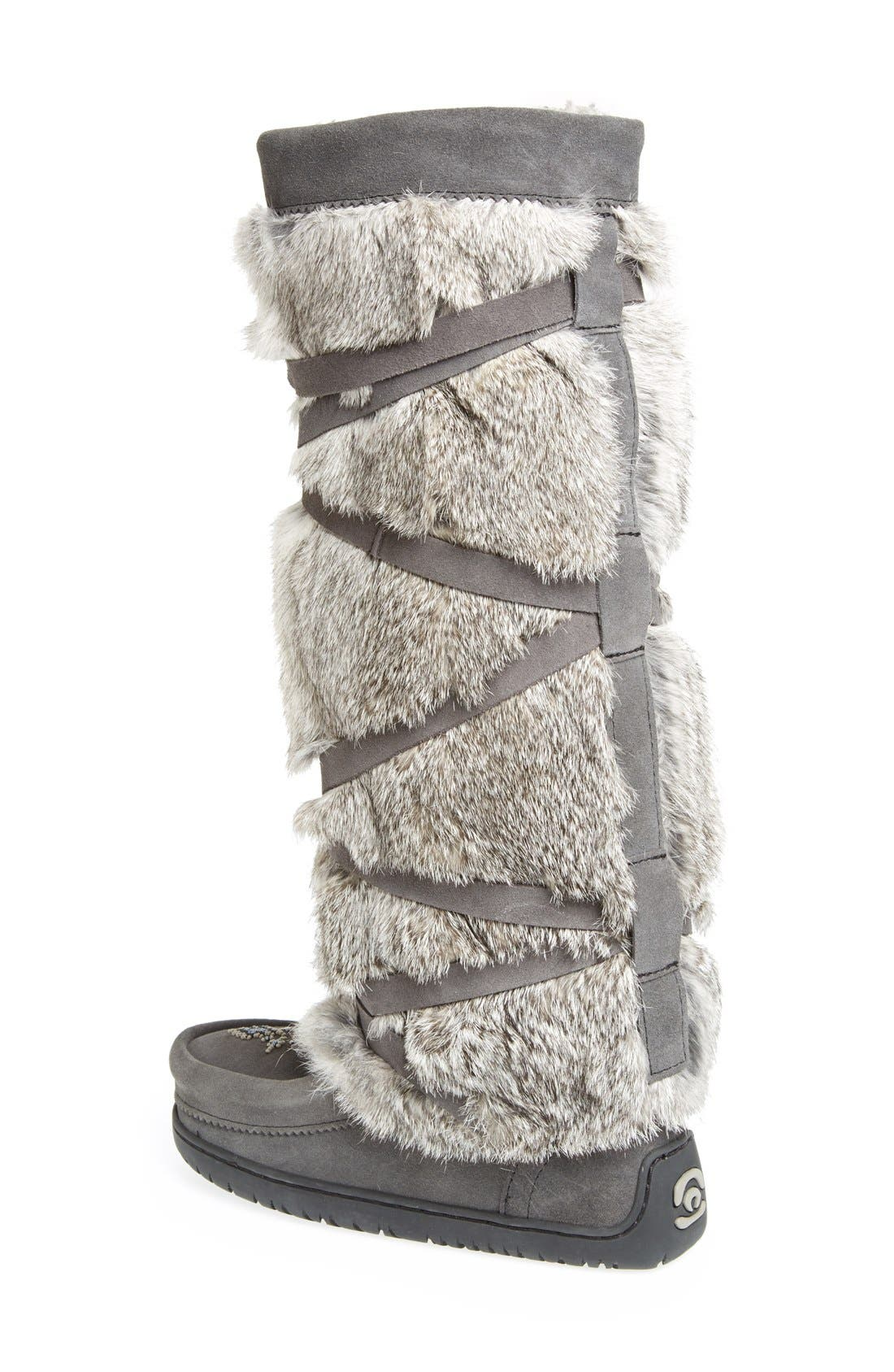 Genuine Rabbit Fur Tall Wrap Boot,                             Alternate thumbnail 2, color,                             CHARCOAL