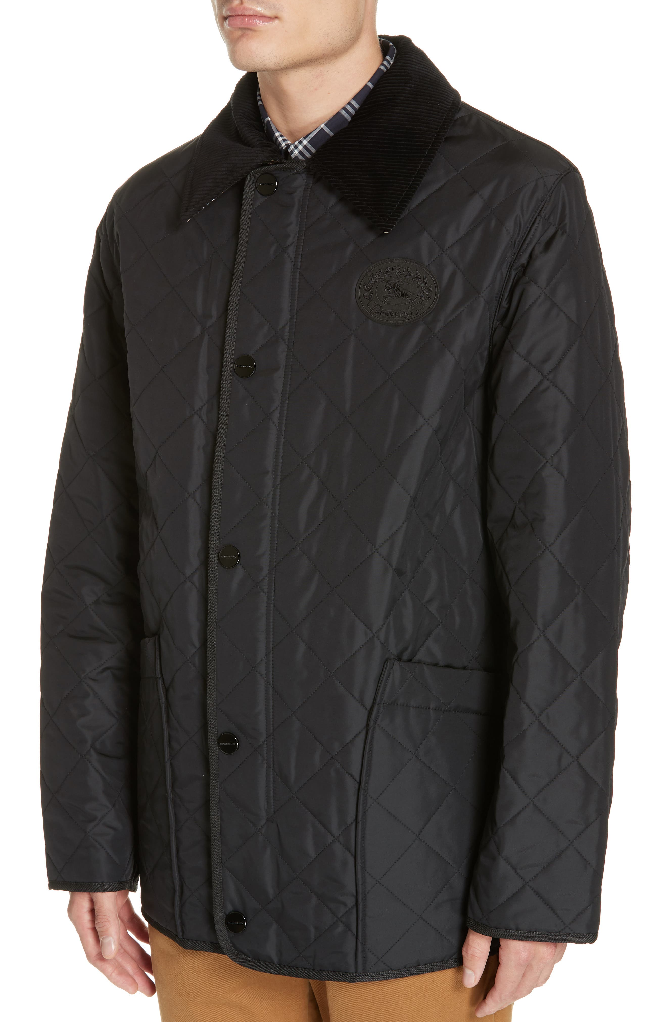 Cotswold Quilted Jacket,                             Alternate thumbnail 4, color,                             BLACK