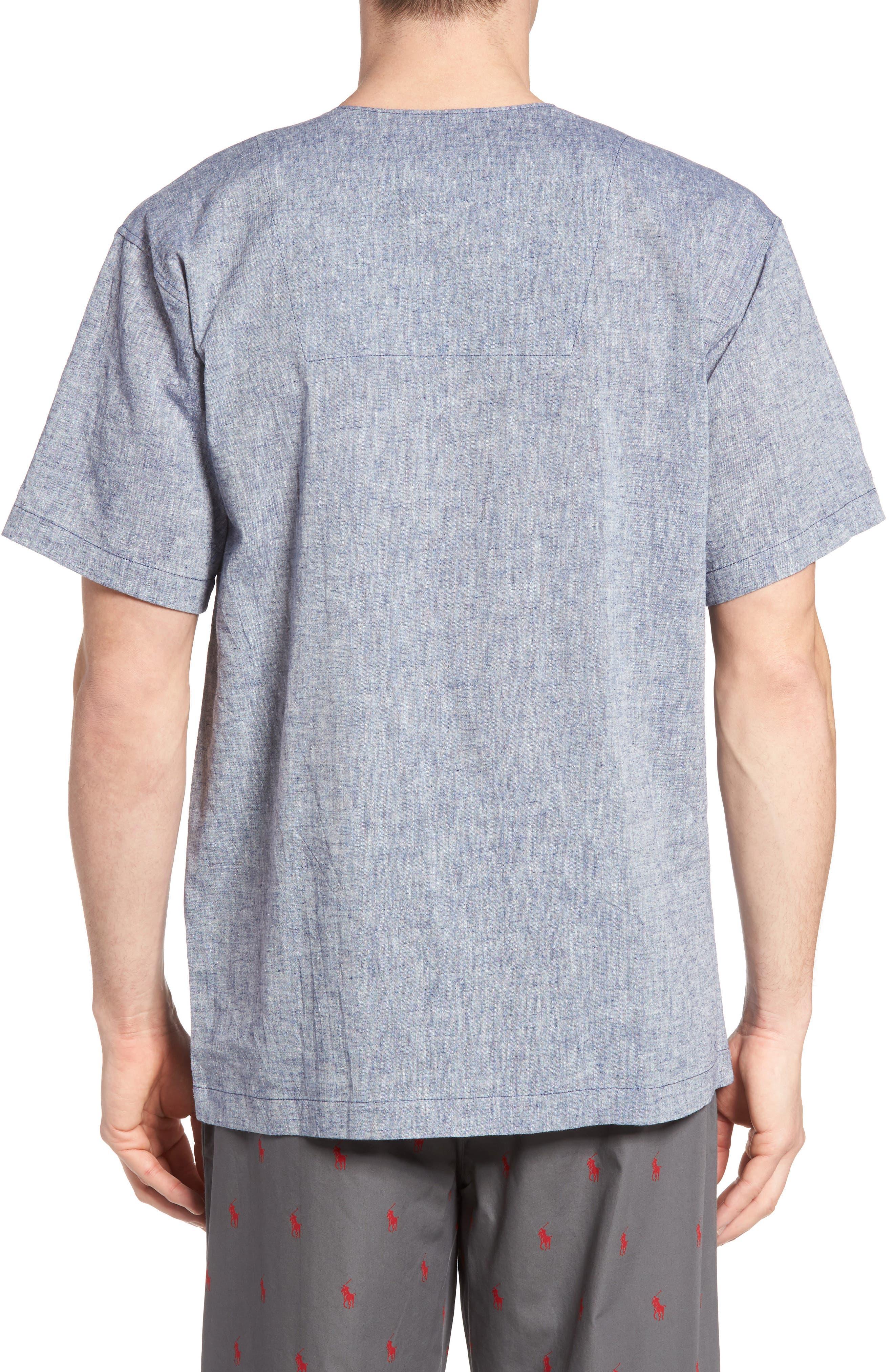 Linen & Cotton Pajama Shirt,                             Alternate thumbnail 2, color,                             400