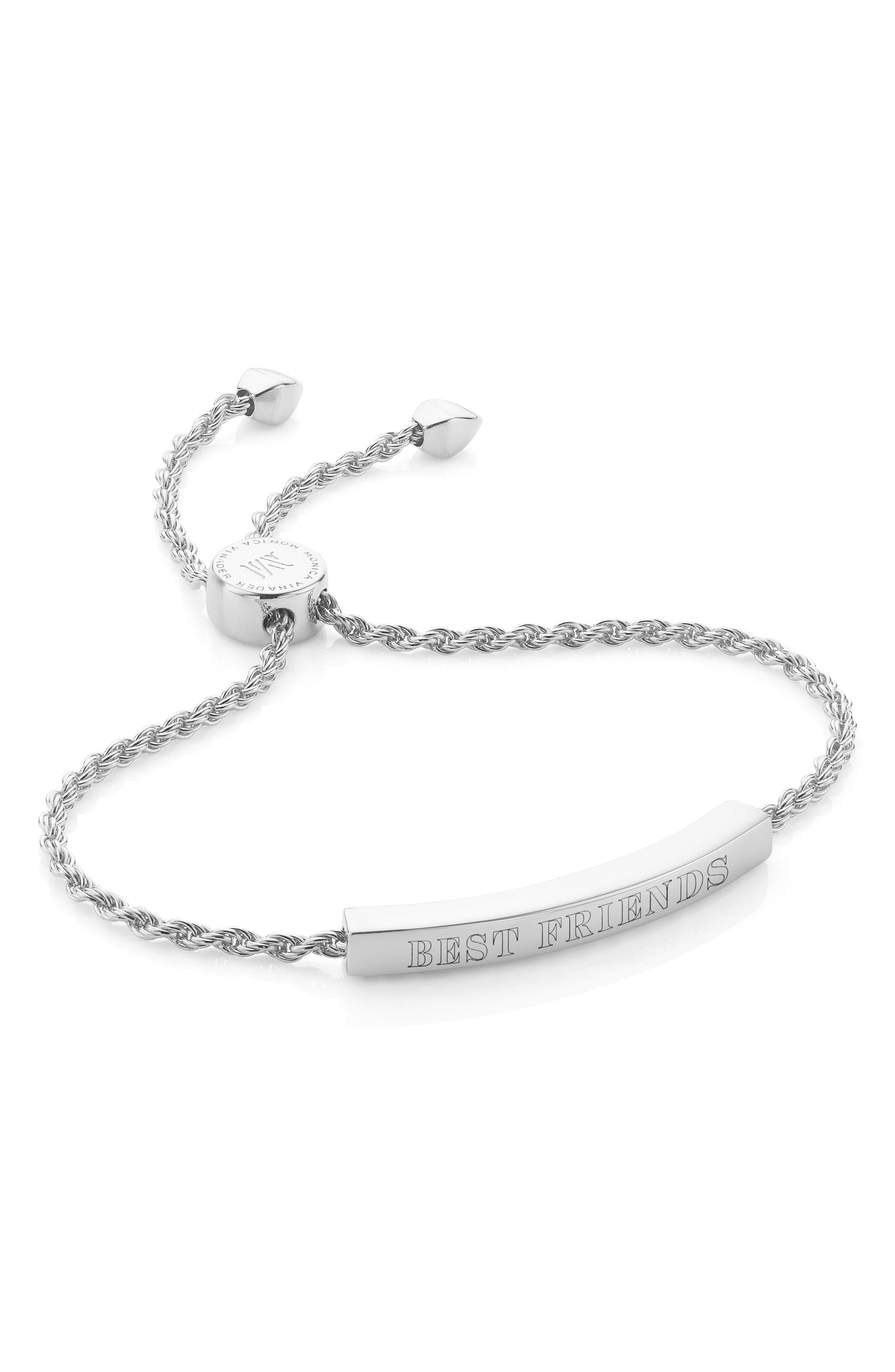 Engravable Linear Friendship Chain Bracelet,                             Alternate thumbnail 2, color,                             SILVER
