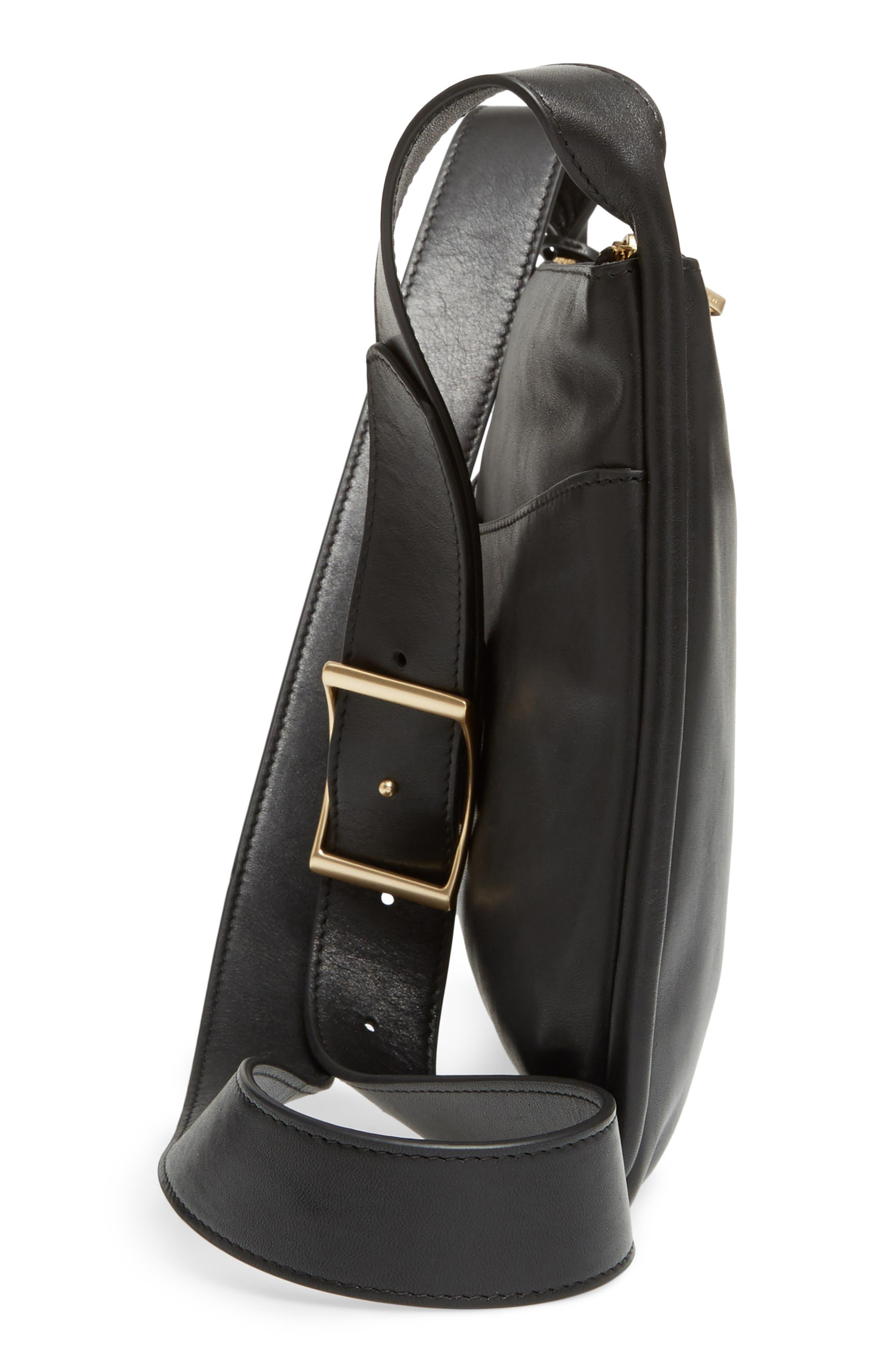 Slim Anesa Leather Crossbody Bag,                             Alternate thumbnail 5, color,                             001