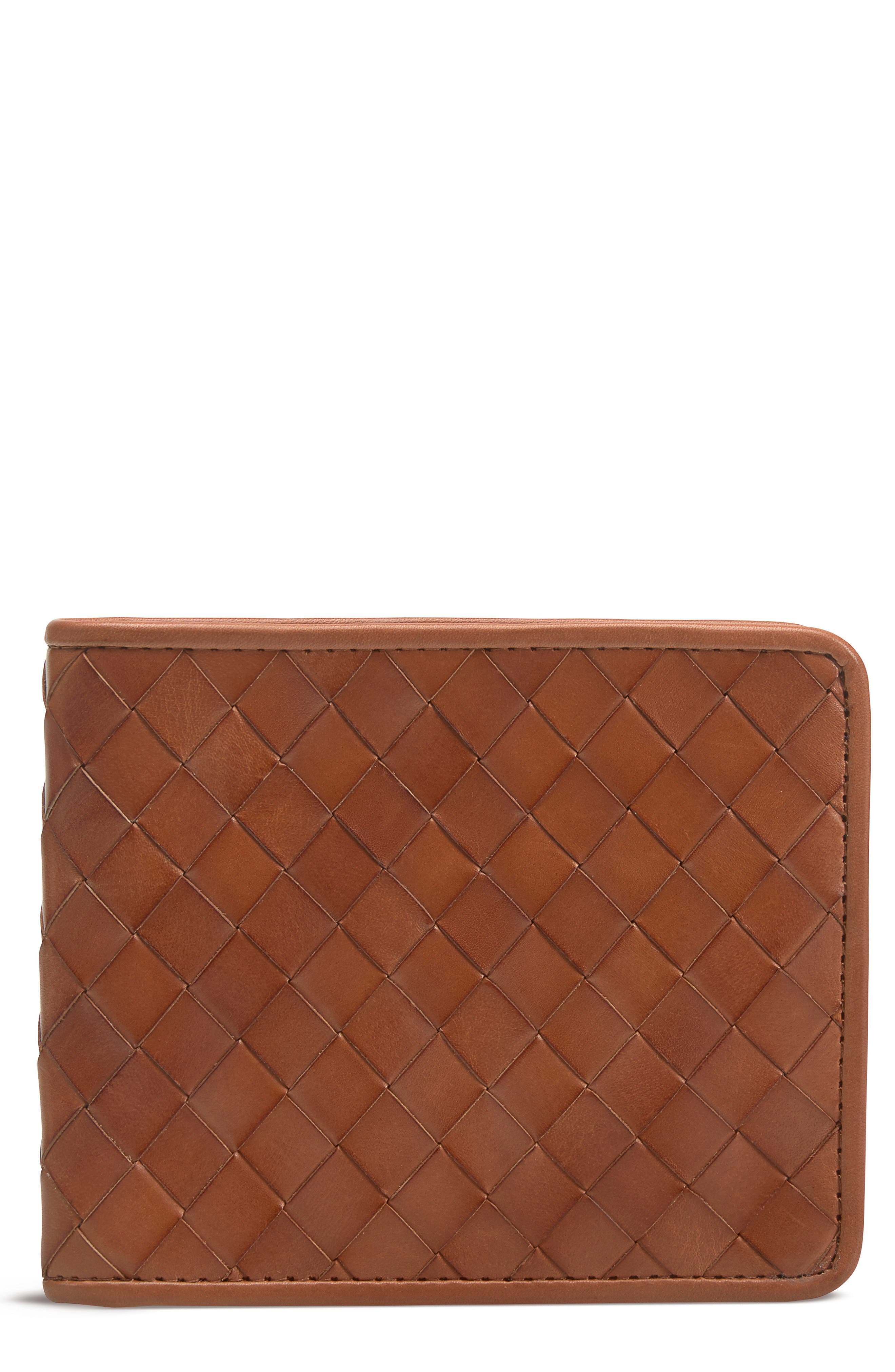 Woven Leather Wallet,                         Main,                         color, 240