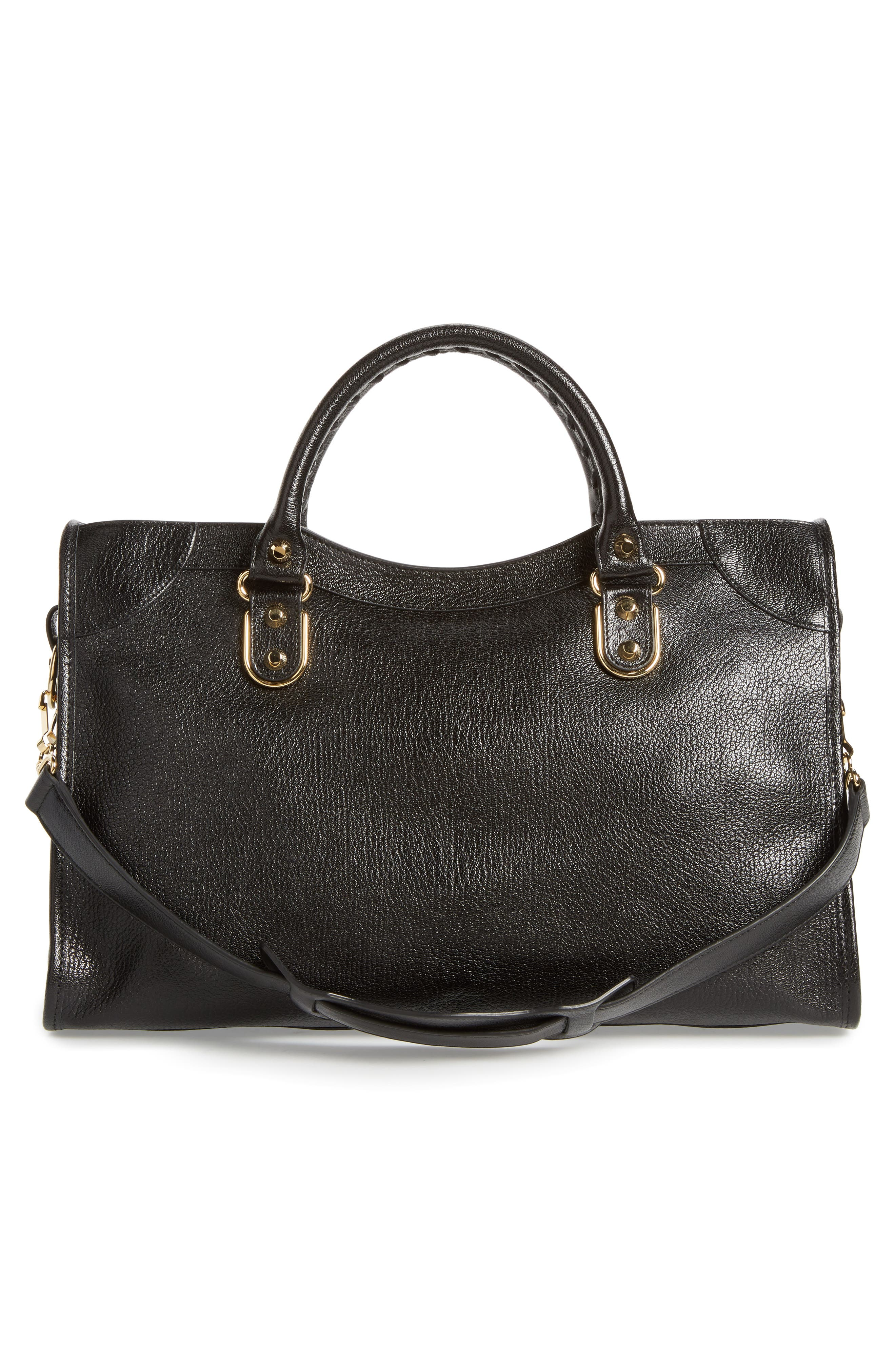 Classic Metallic Edge City Leather Tote,                             Alternate thumbnail 3, color,                             001