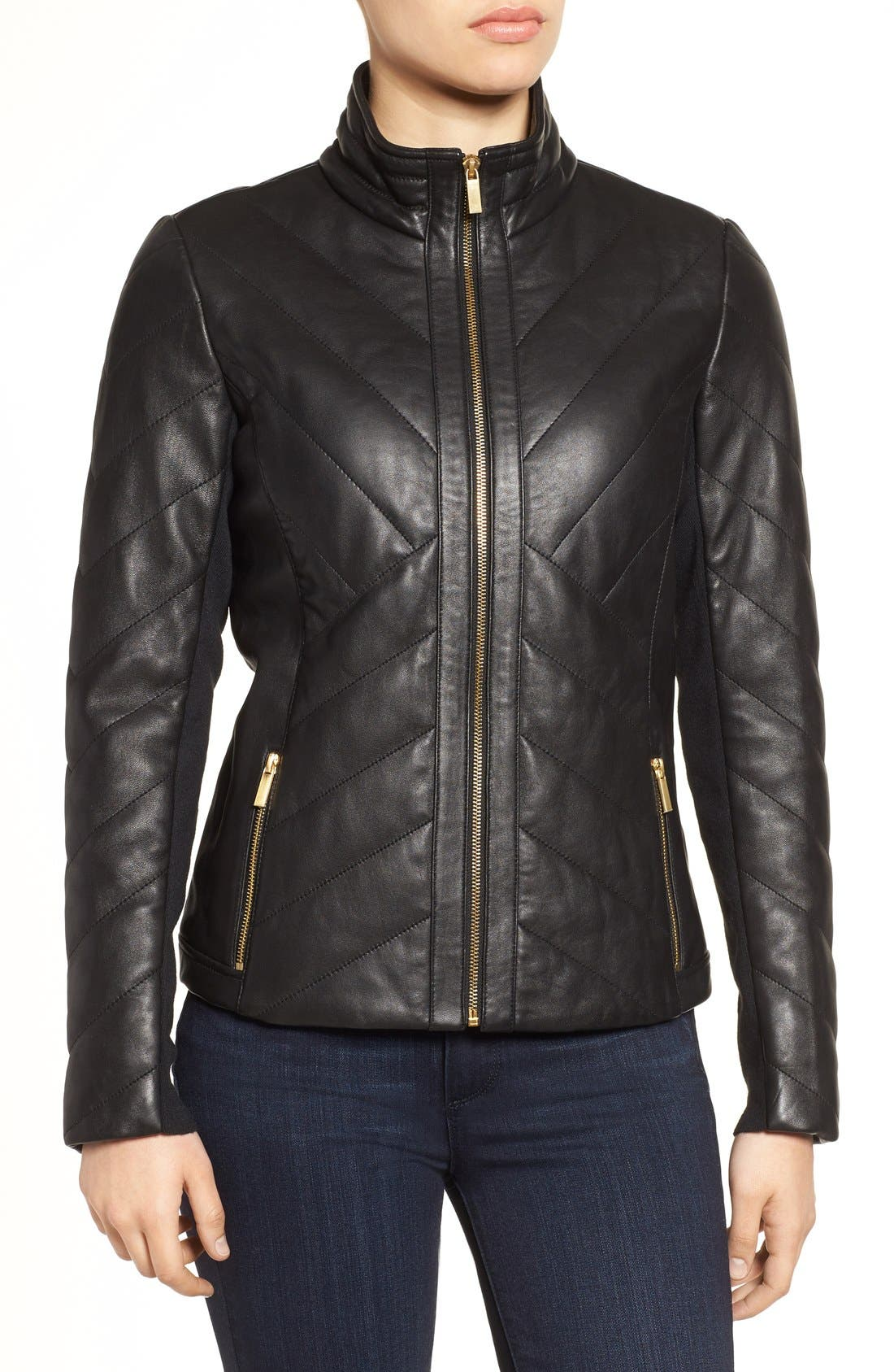 Badgley Mischka Eloise Quilted Leather Moto Jacket,                             Alternate thumbnail 6, color,                             001