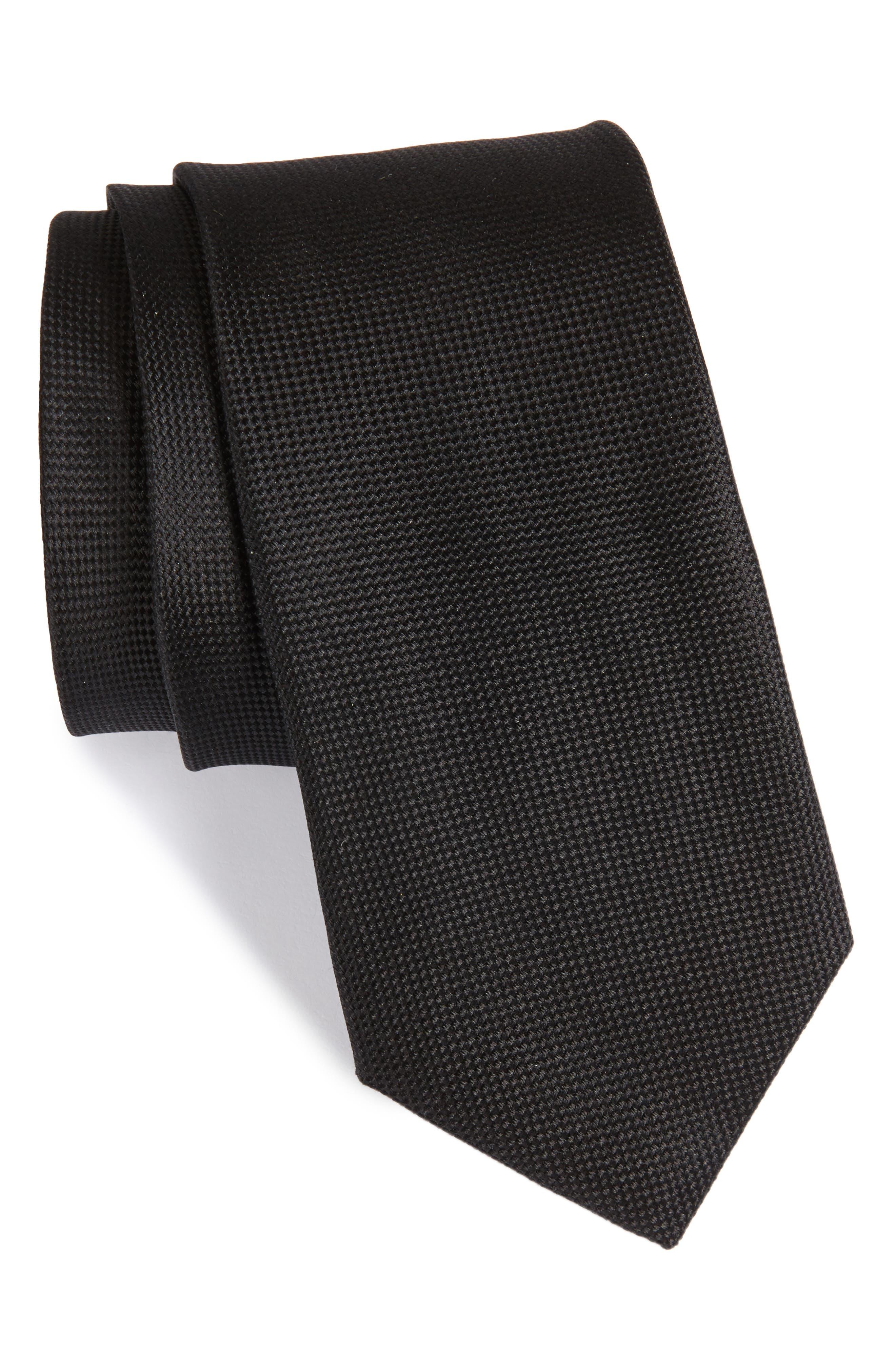 Solid Silk Tie,                         Main,                         color, 001