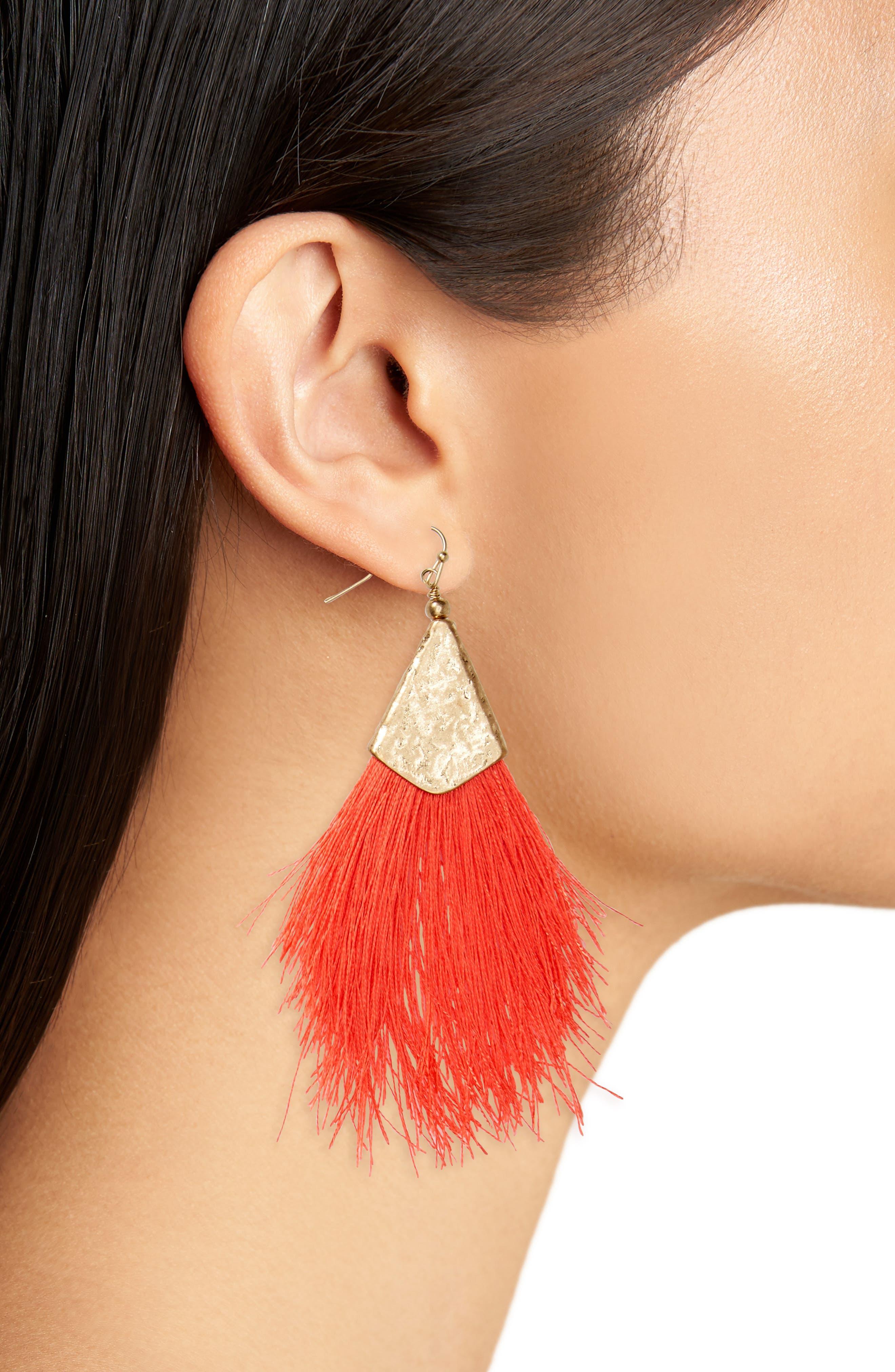 Fan Tassel Earrings,                             Alternate thumbnail 8, color,