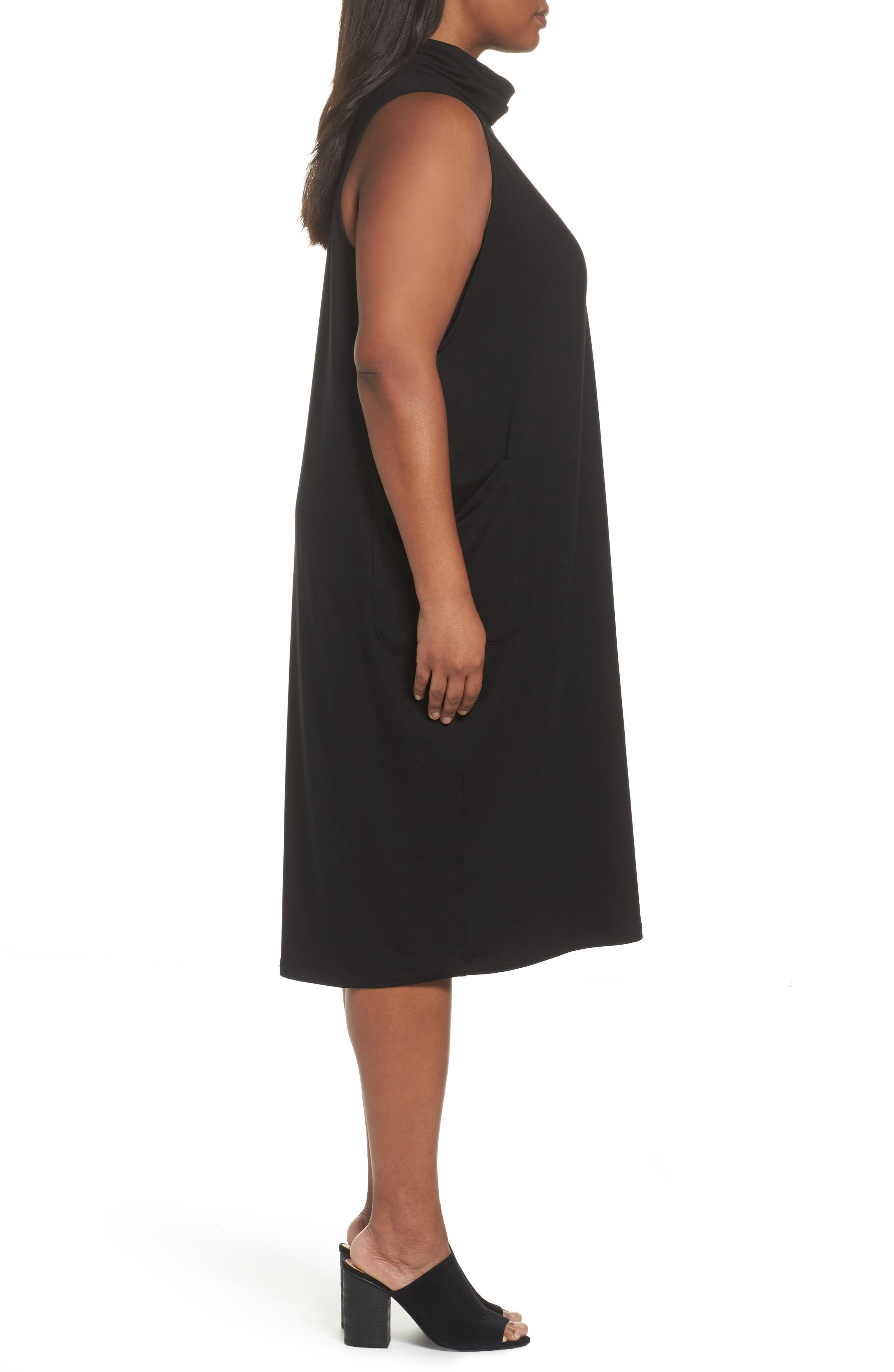 Stretch Tencel<sup>®</sup> Knit Jumper Dress,                             Alternate thumbnail 3, color,                             001
