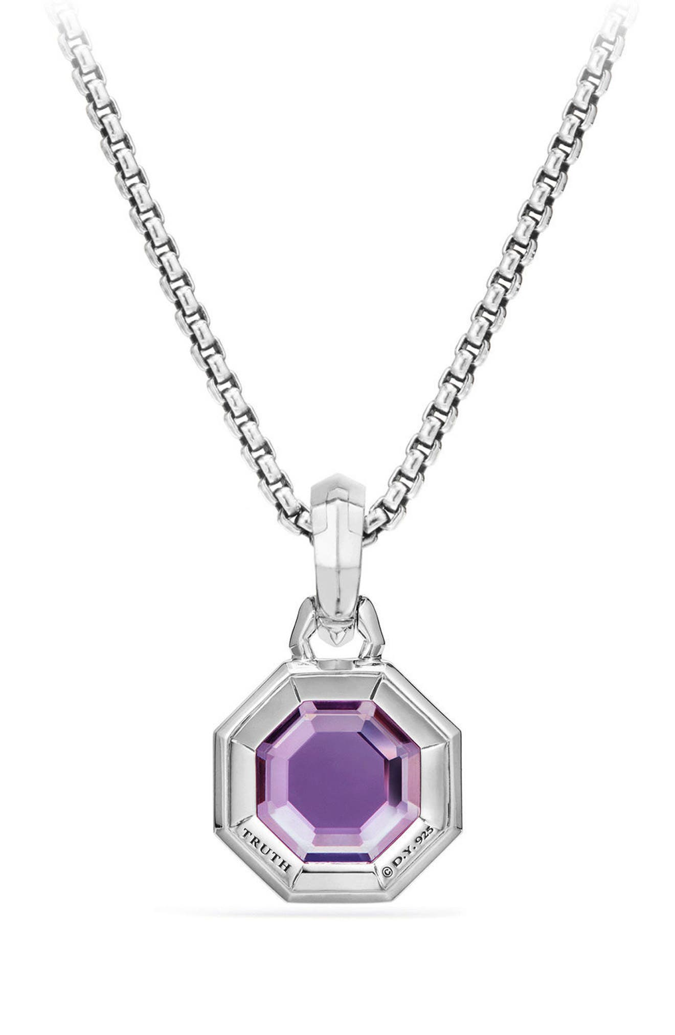 Cable Collectibles Octagon Cut Semiprecious Stone Amulet,                             Alternate thumbnail 2, color,                             AMETHYST