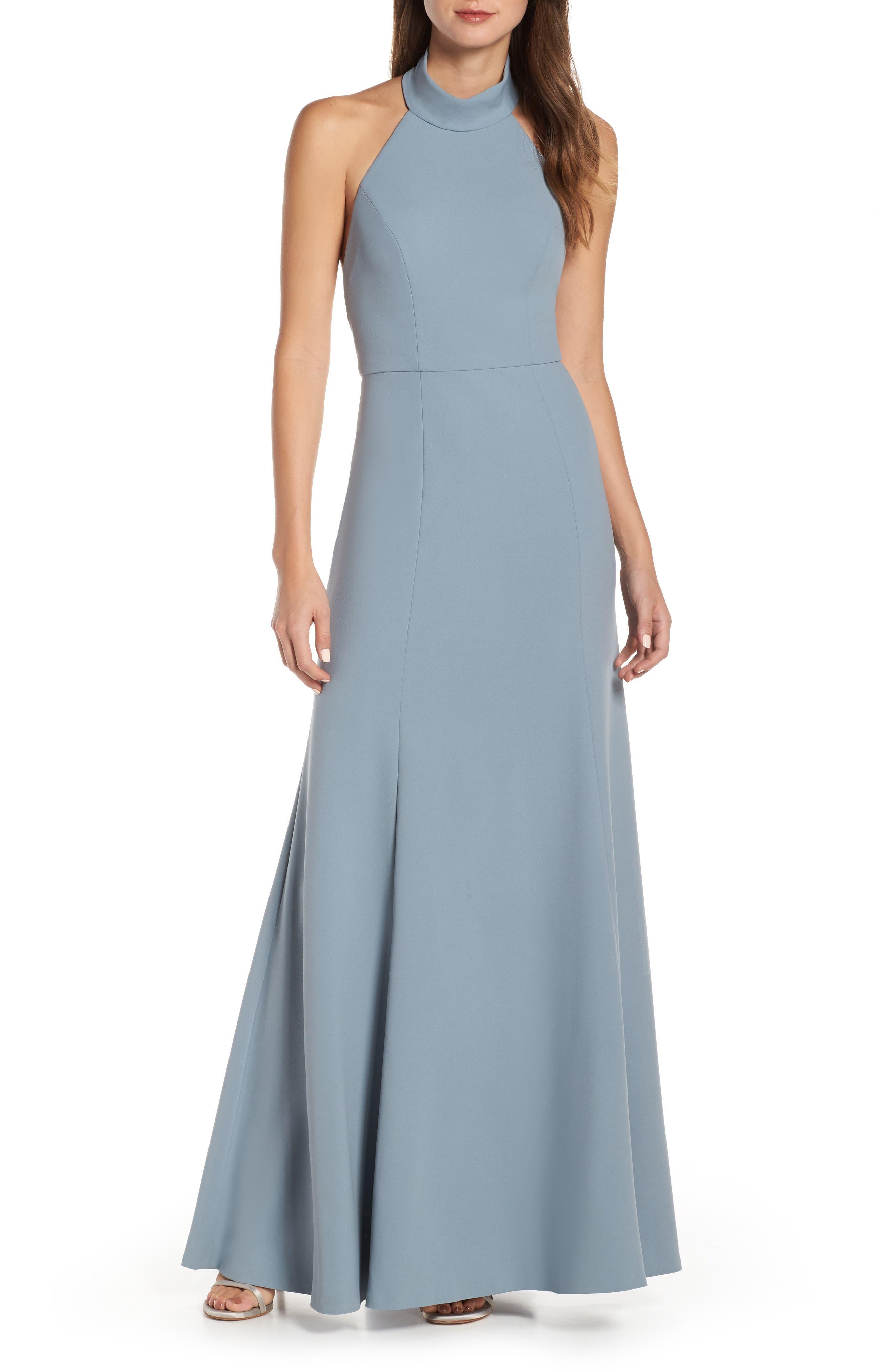 Jenny Yoo Petra Halter Crepe Evening Dress, Blue