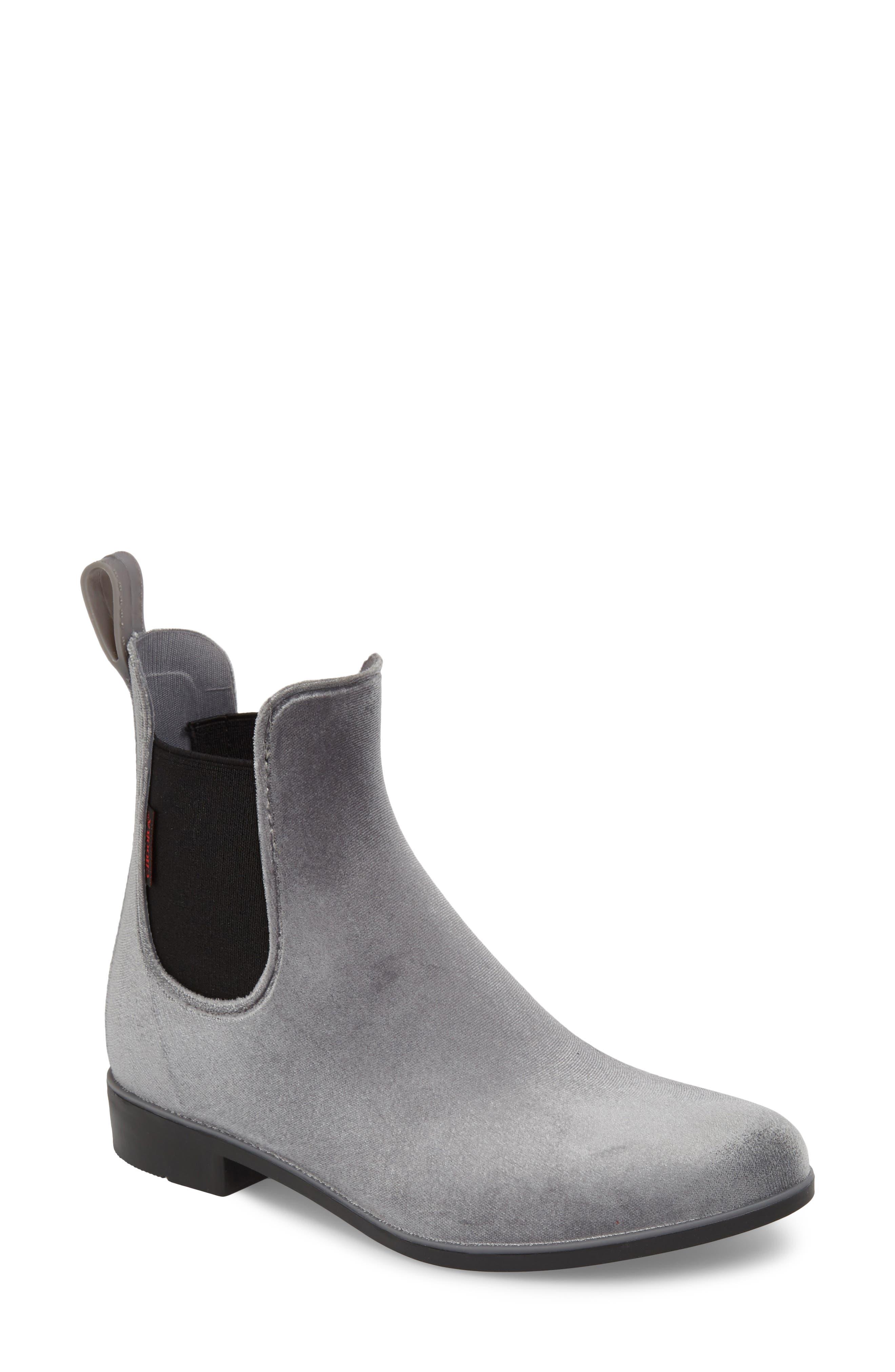 Waterproof Velvet Chelsea Rain Boot,                             Main thumbnail 1, color,                             GRAY