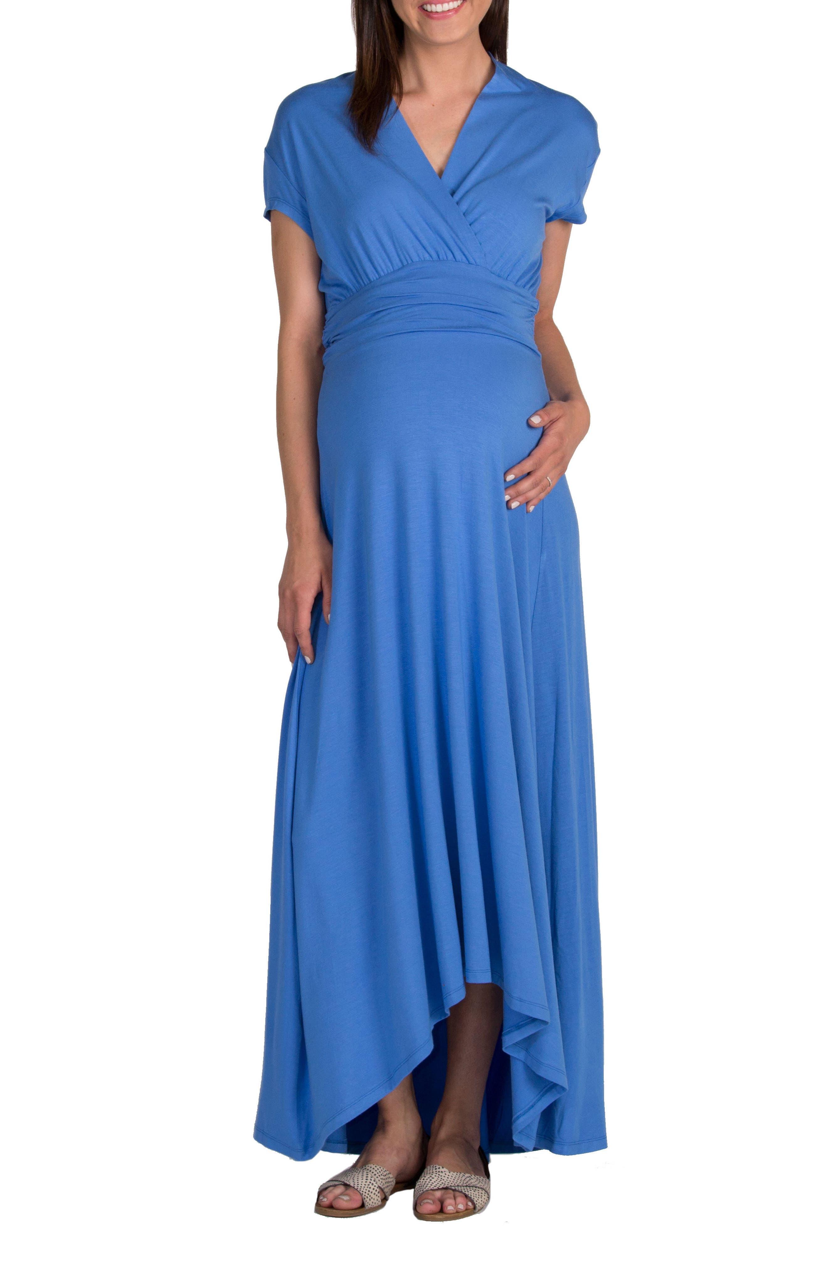'Caroline' Maternity/Nursing Maxi Dress, Main, color, BLUEBELL
