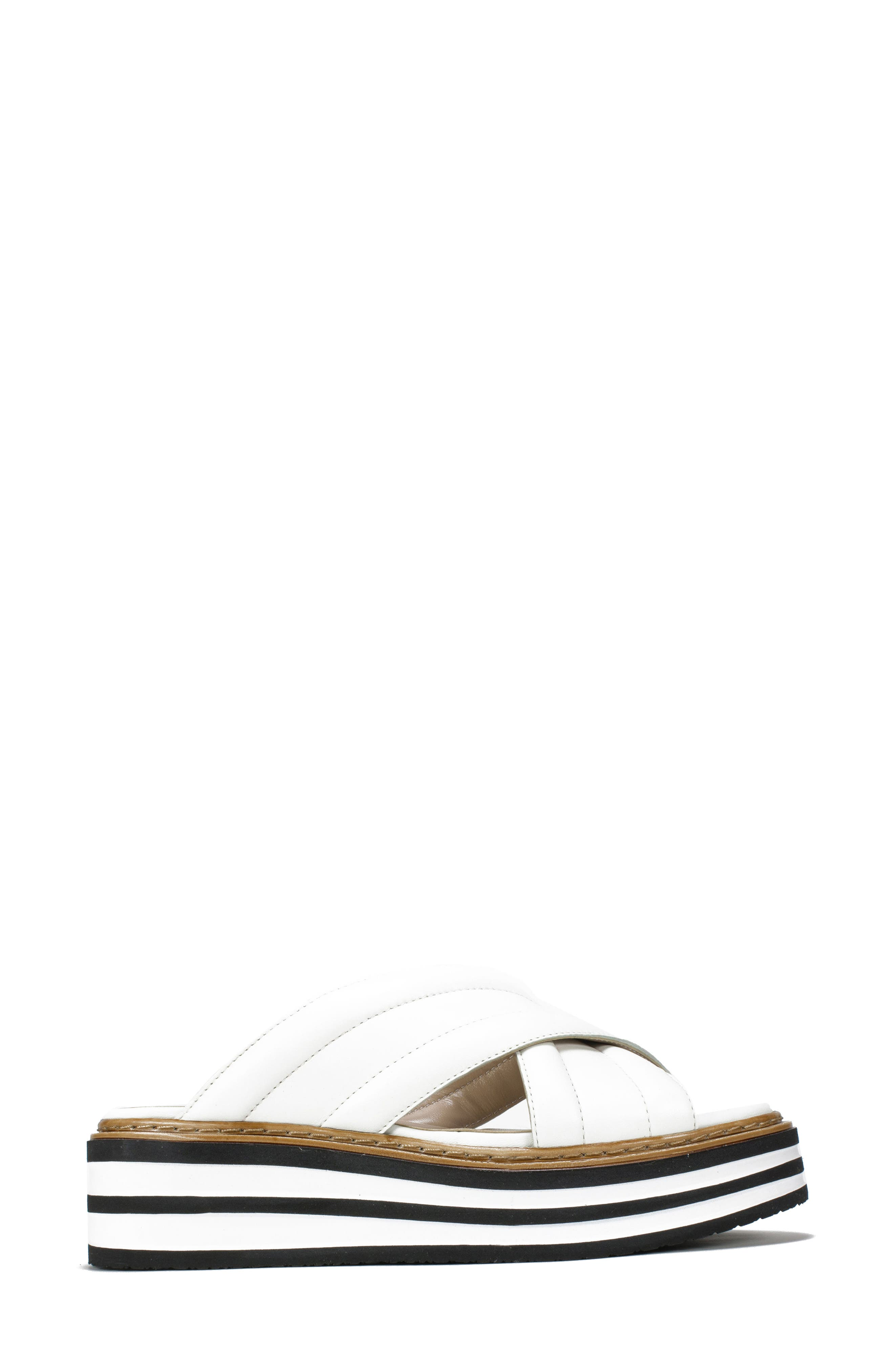 SUMMIT,                             by White Mountain Lowell Platform Slide Sandal,                             Alternate thumbnail 3, color,                             WHITE LEATHER