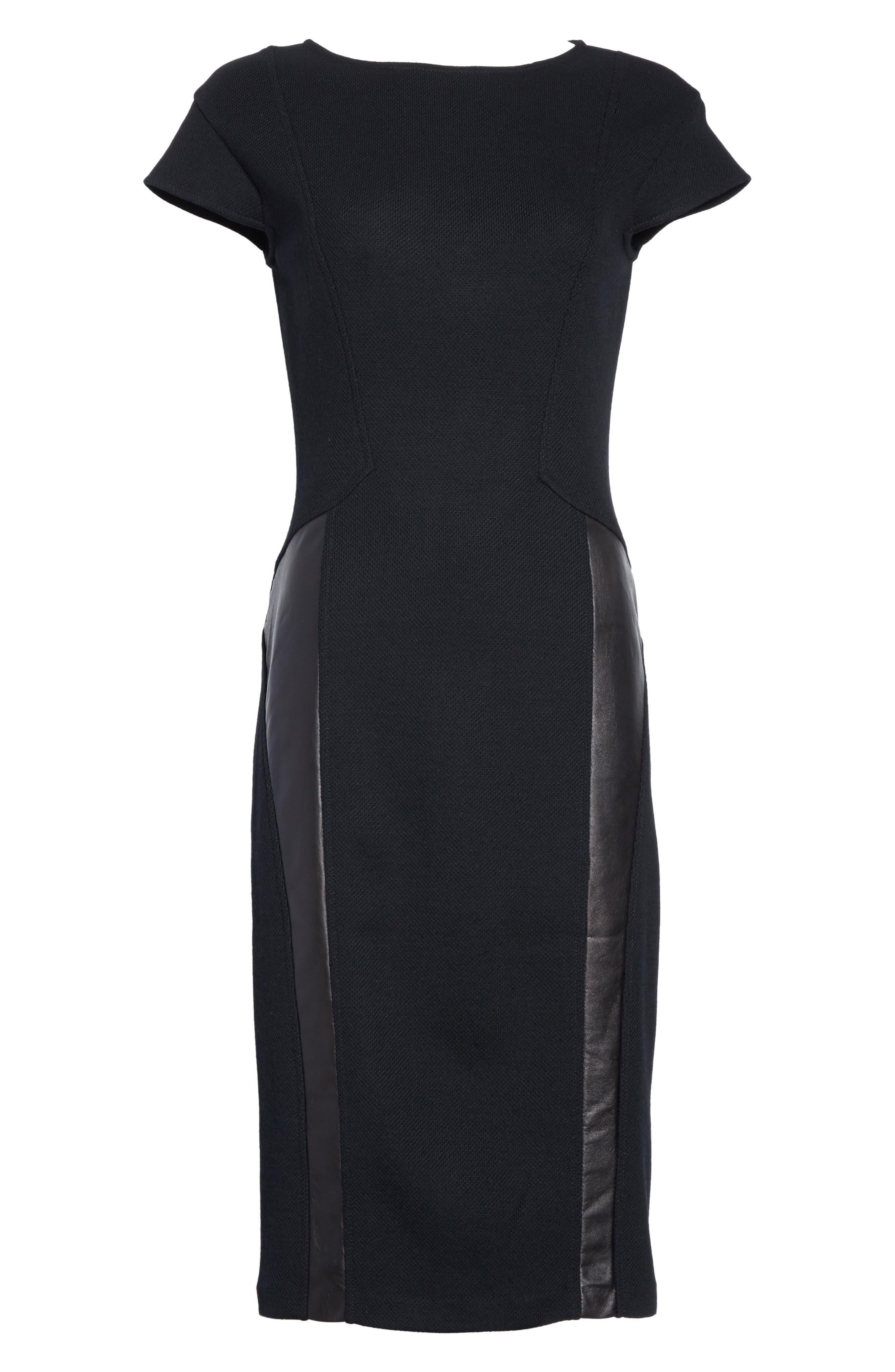 Leather Panel Milano Piqué Knit Dress,                             Alternate thumbnail 6, color,                             001