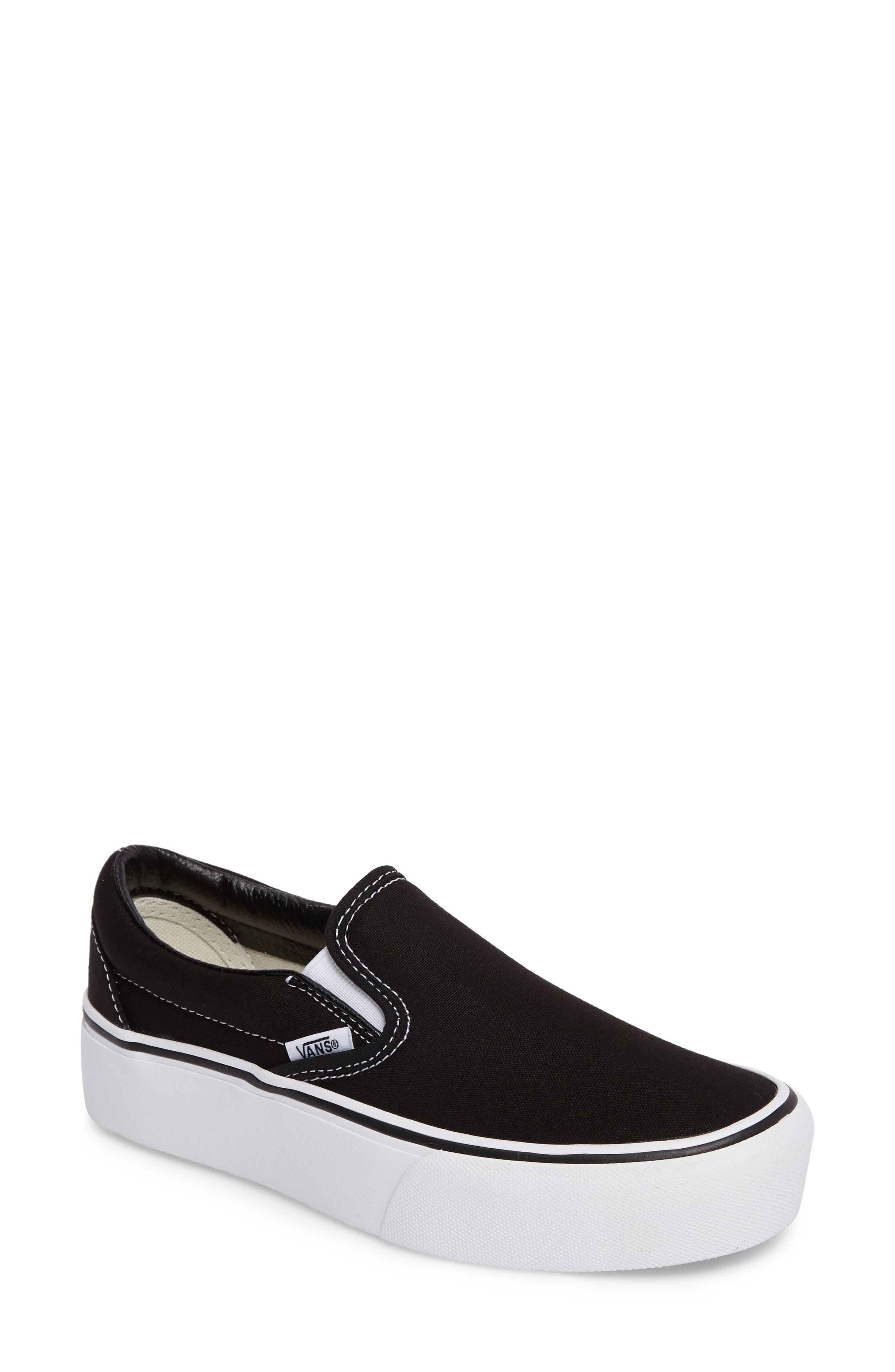 Platform Slip-On Sneaker,                             Main thumbnail 1, color,                             BLACK/ WHITE