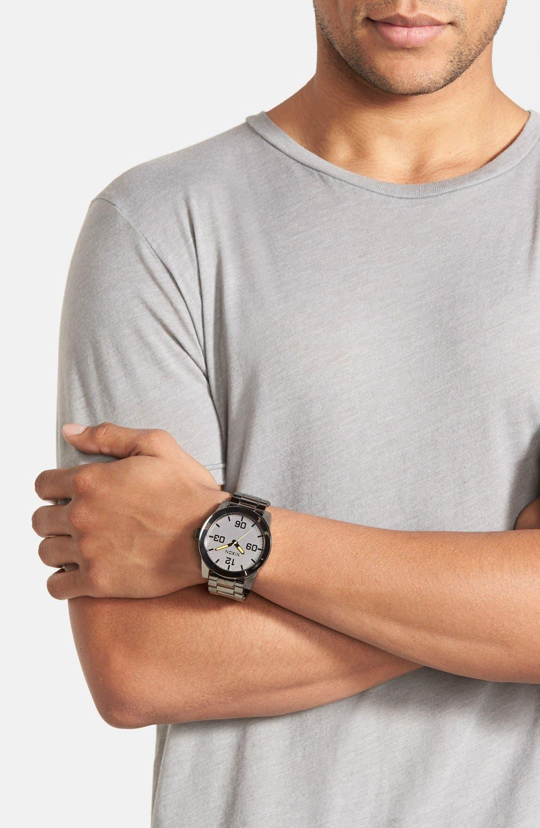 'The Corporal' Bracelet Watch, 48mm,                             Alternate thumbnail 4, color,                             GUNMETAL