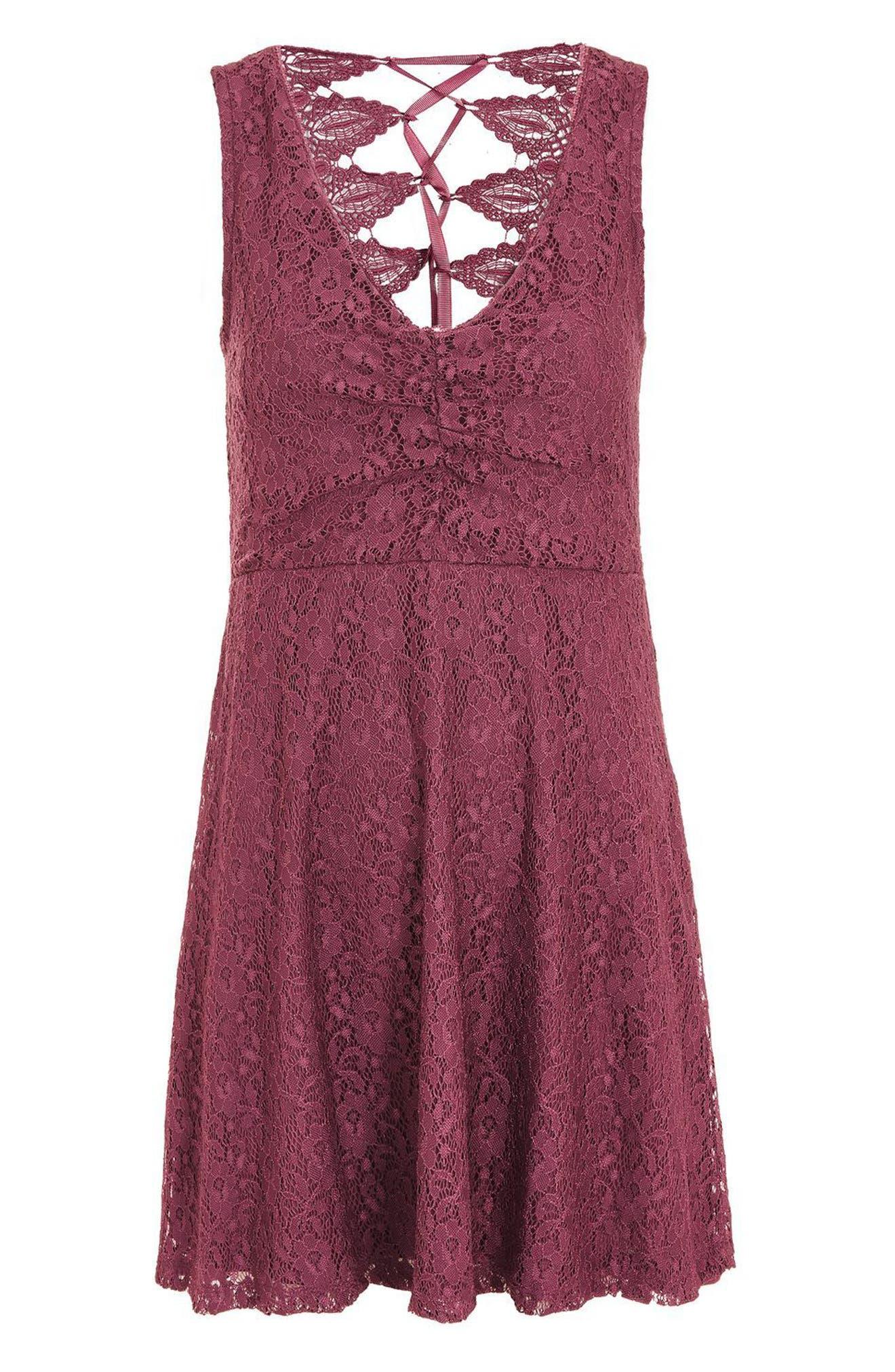 Lace-Up Lace Skater Dress,                             Alternate thumbnail 4, color,                             500