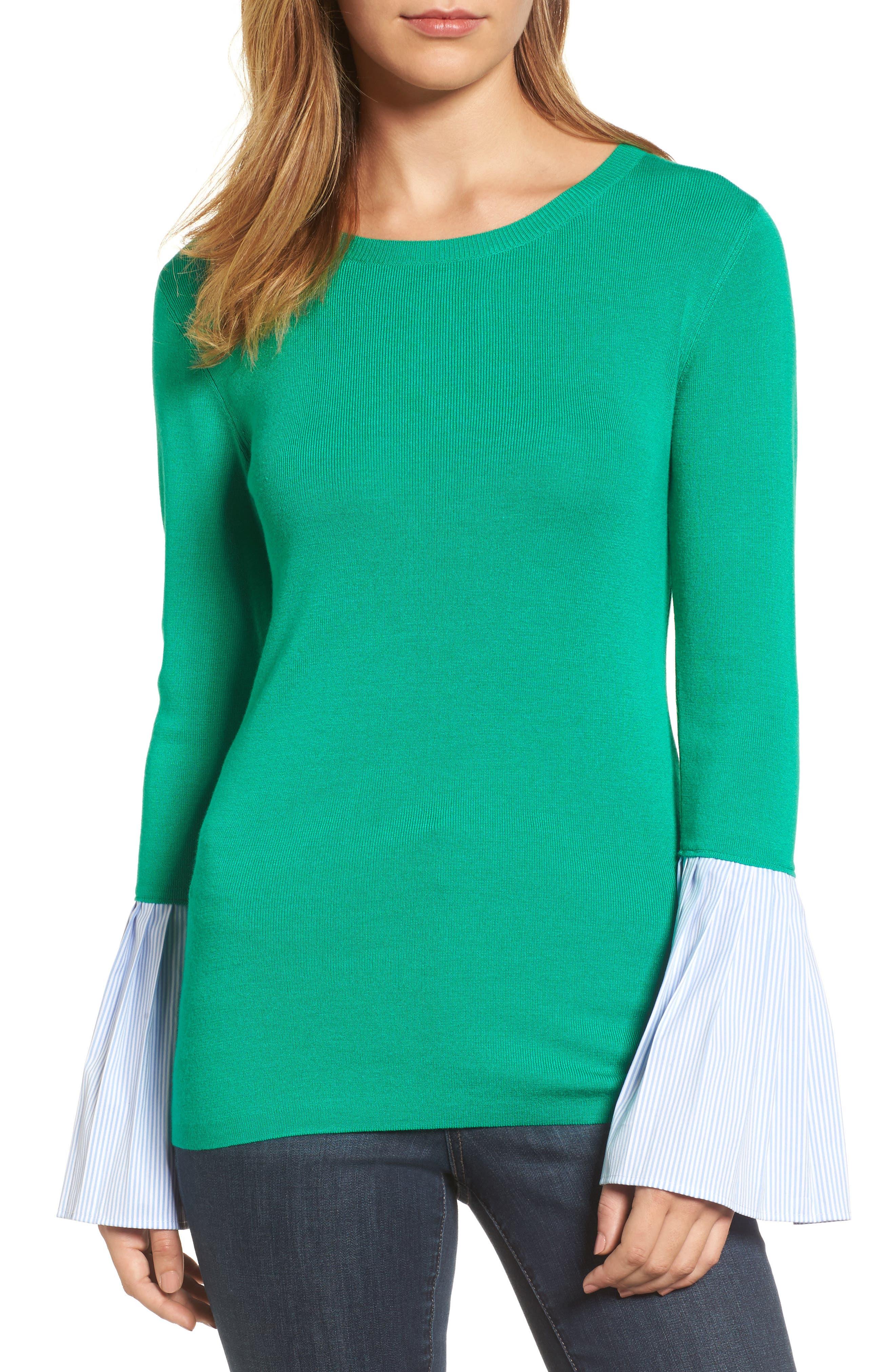 Poplin Bell Cuff Sweater,                             Main thumbnail 2, color,