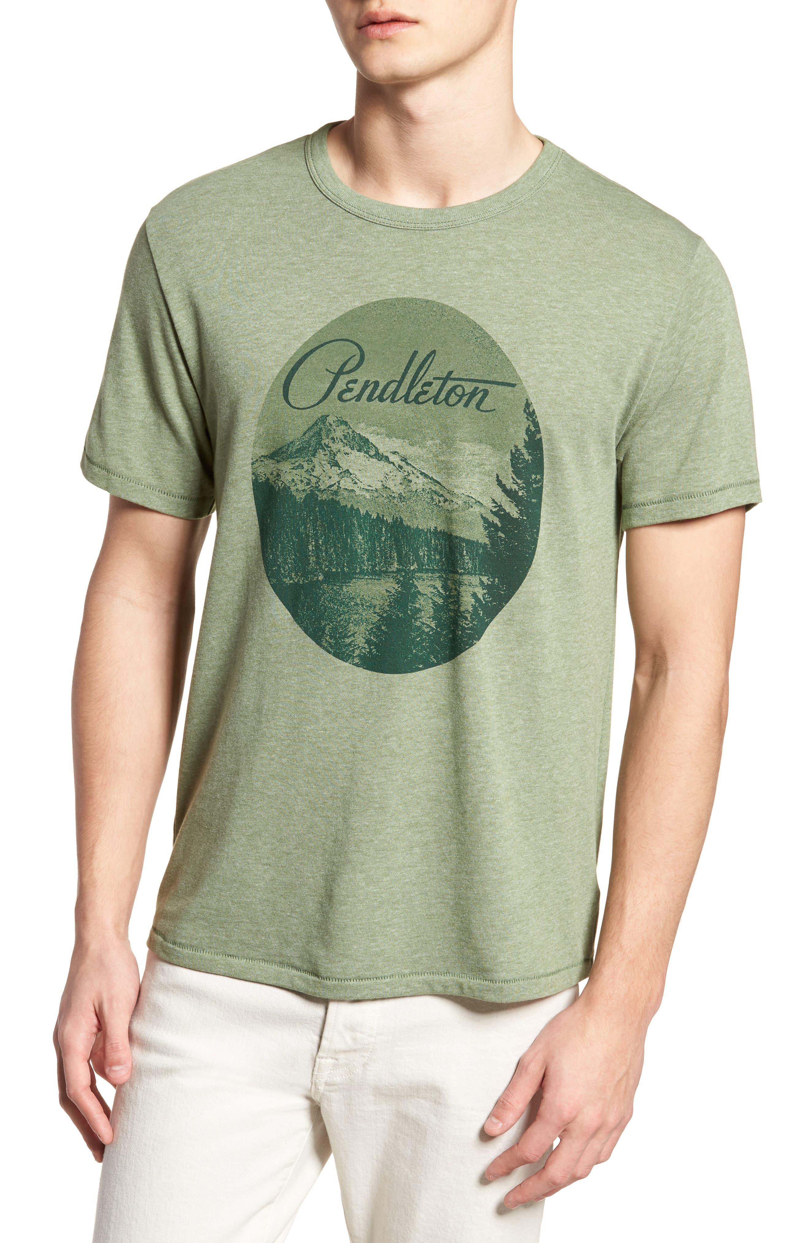 Mt. Hood Crewneck T-Shirt,                         Main,                         color, FOREST GREEN