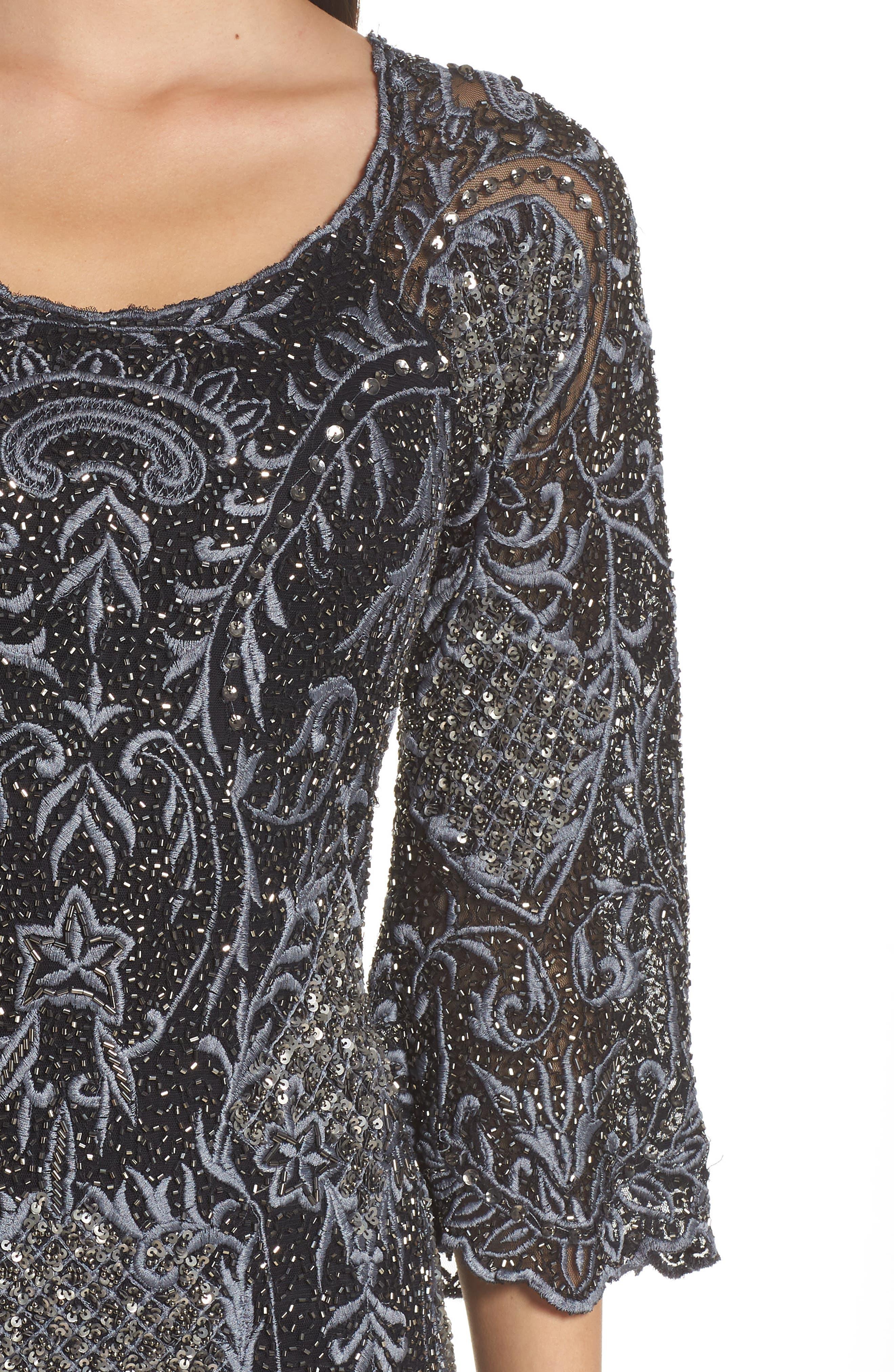 Embroidered Scallop Edge Midi Sheath Dress,                             Alternate thumbnail 4, color,                             BLACK