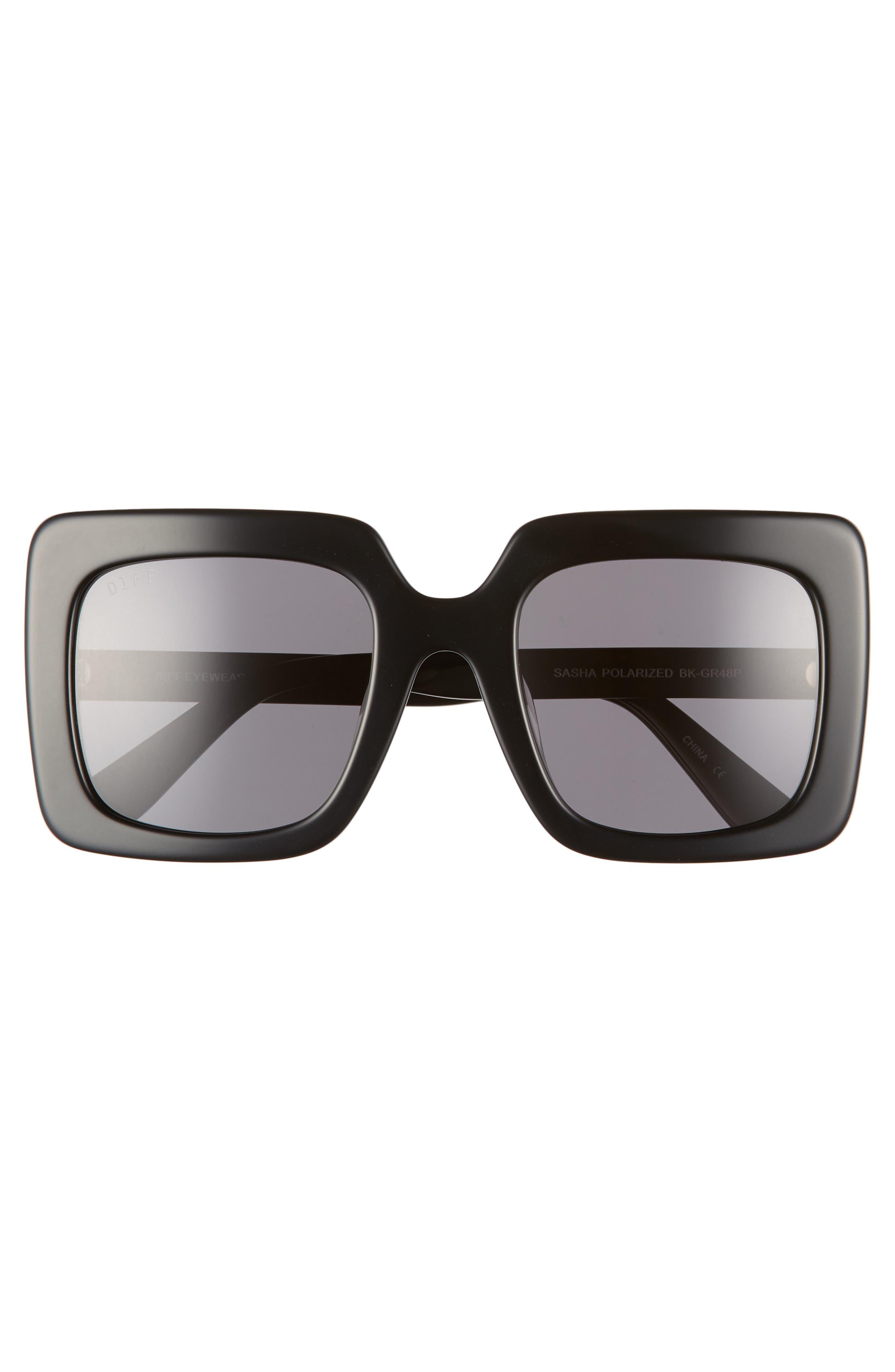 Sasha 53mm Polarized Sunglasses,                             Alternate thumbnail 3, color,                             BLACK/ GREY