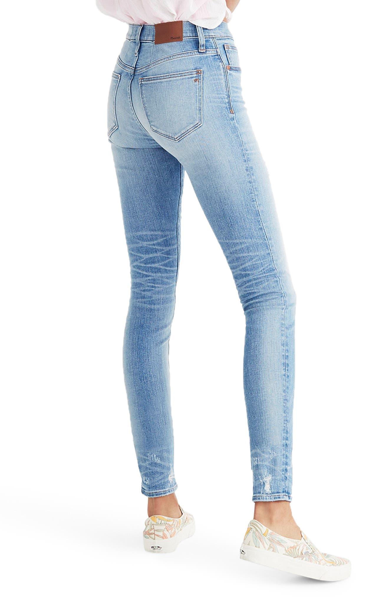 MADEWELL,                             9-Inch Destructed Hem High Waist Skinny Jeans,                             Alternate thumbnail 2, color,                             400