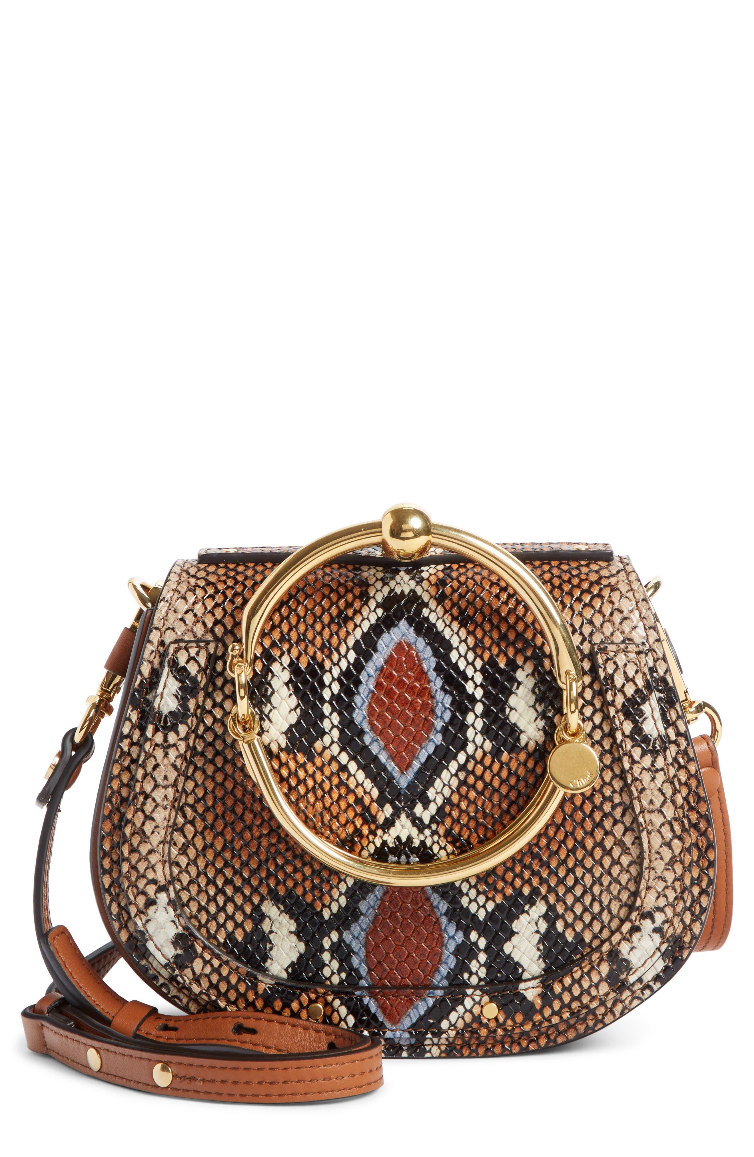 Small Nile Python Embossed Leather Crossbody Bag,                             Main thumbnail 1, color,                             210