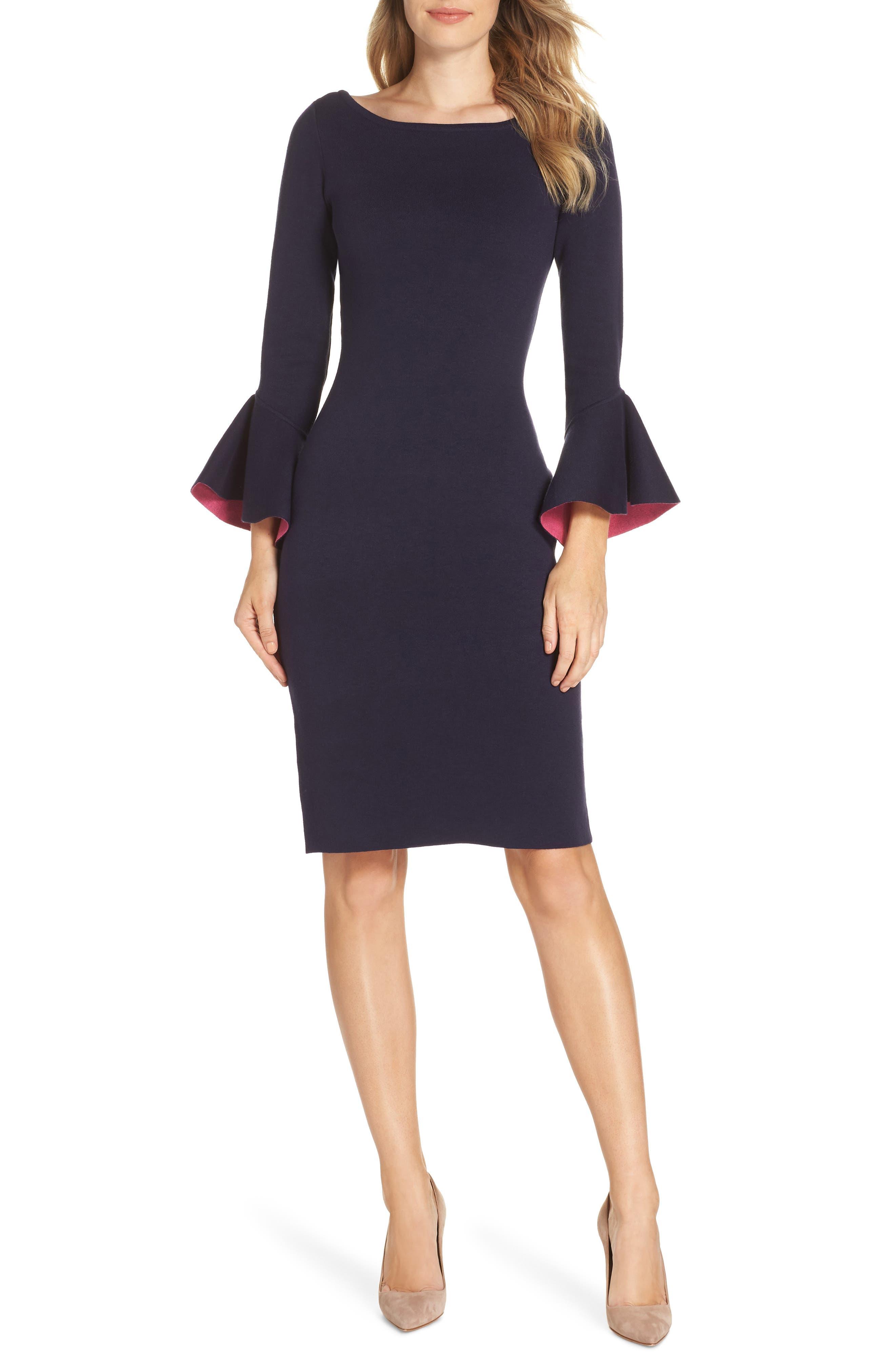 Bell Sleeve Midi Sweater Dress, Main, color, NAVY