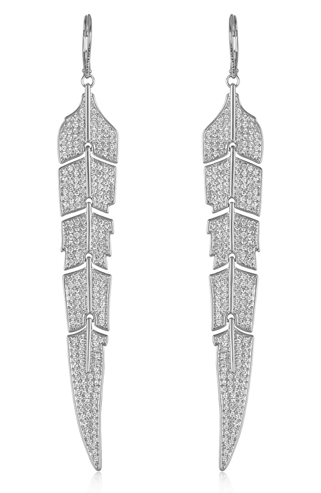Feather Drop Earrings,                             Alternate thumbnail 4, color,                             SILVER