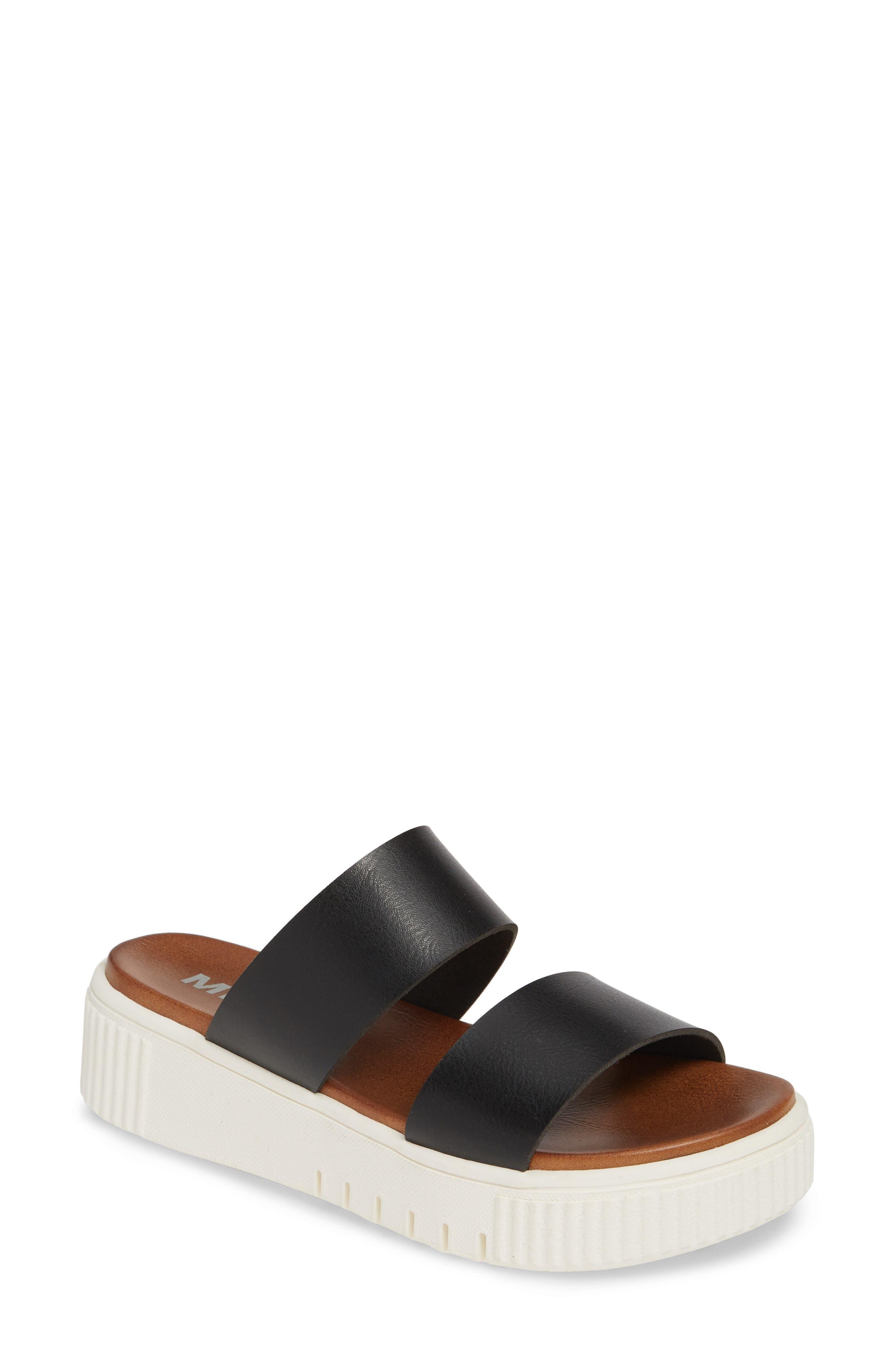 MIA Lexi Platform Slide Sandal, Main, color, BLACK LEATHER