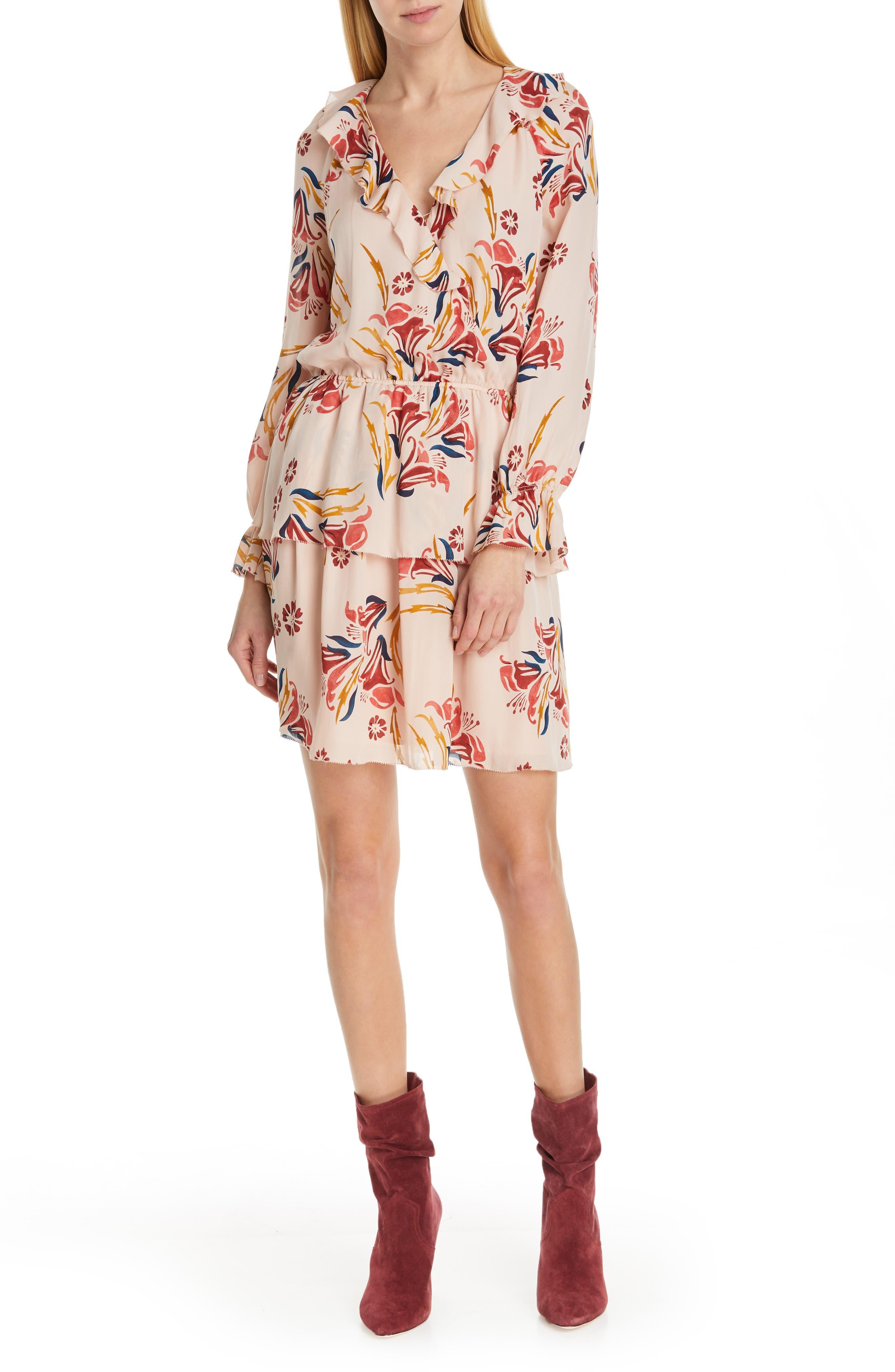 Joie Nour Ruffle Neck Silk Dress, Pink
