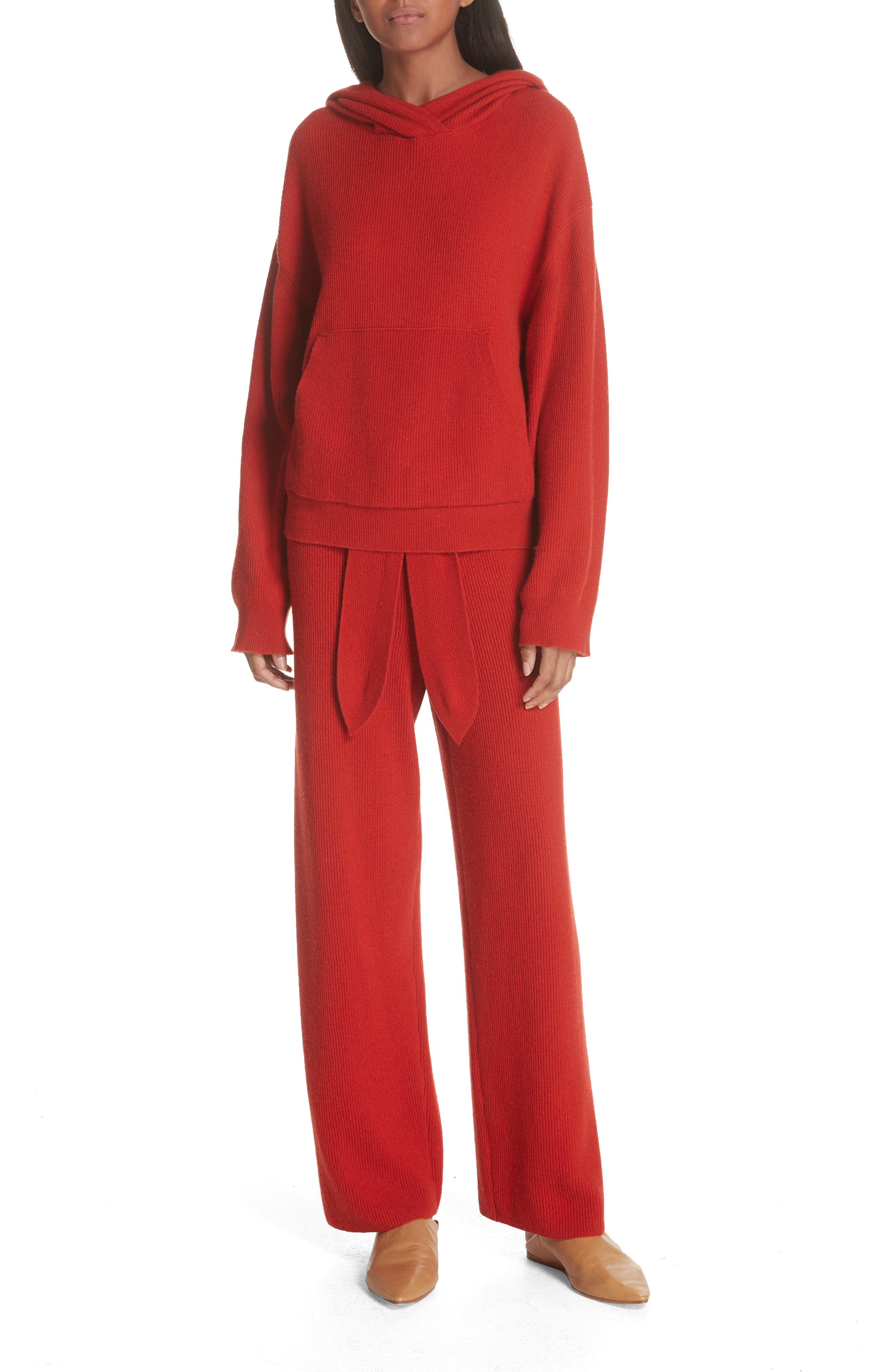 Tigre Merino Wool & Cashmere Blend Pants,                             Alternate thumbnail 7, color,                             RED