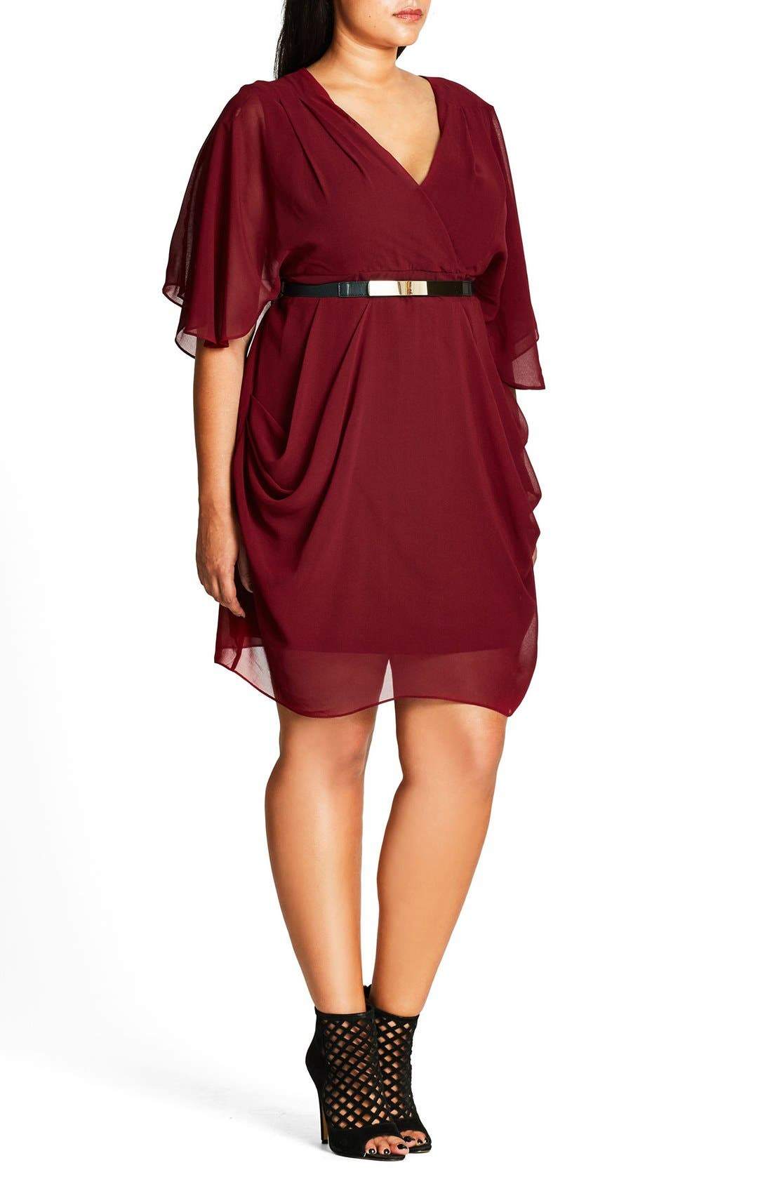 Belted Chiffon Faux Wrap Dress,                             Alternate thumbnail 4, color,                             RUBY