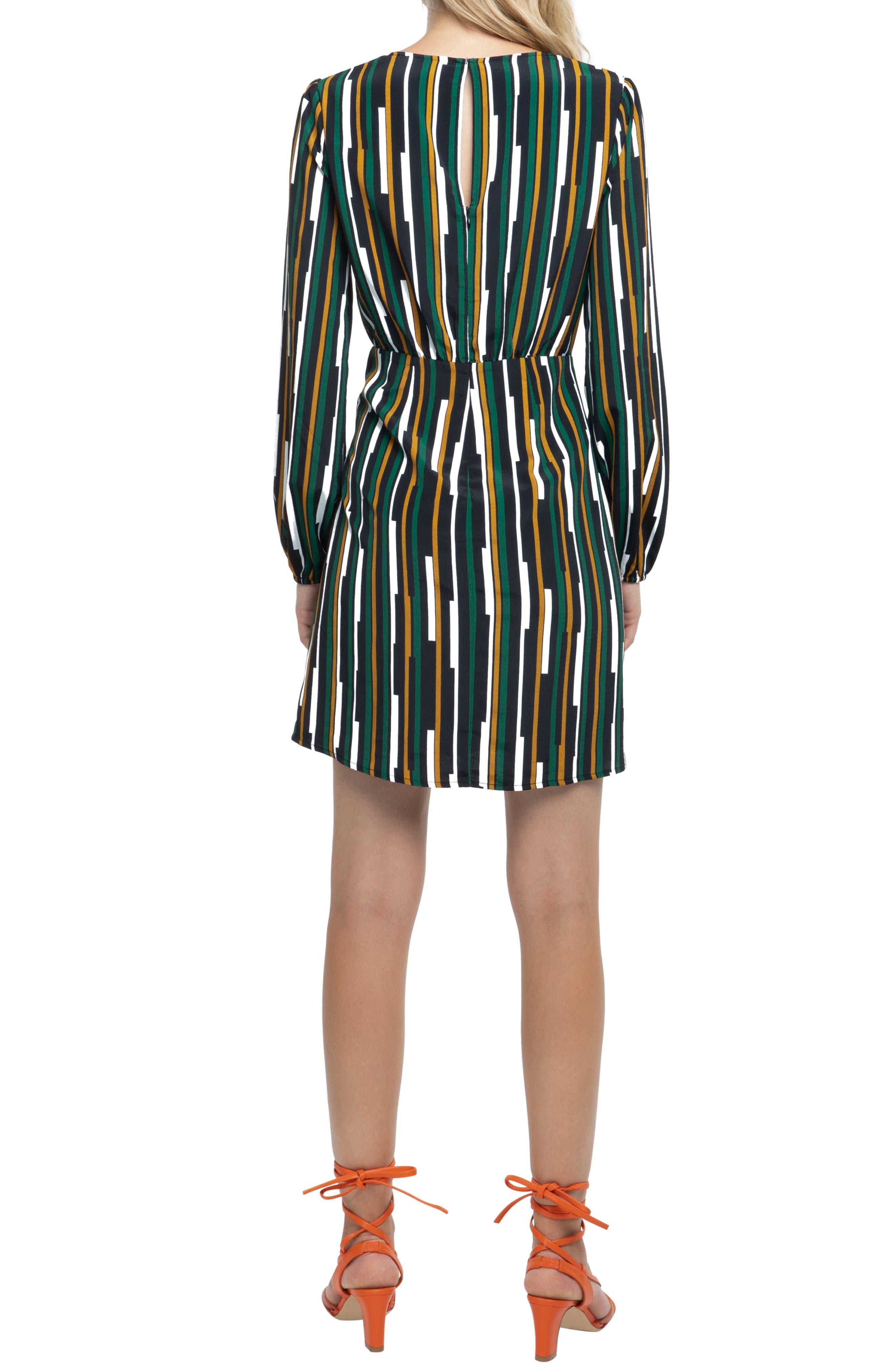 Wrap Skirt Dress,                             Alternate thumbnail 2, color,                             BLACK/ GREEN MULTI