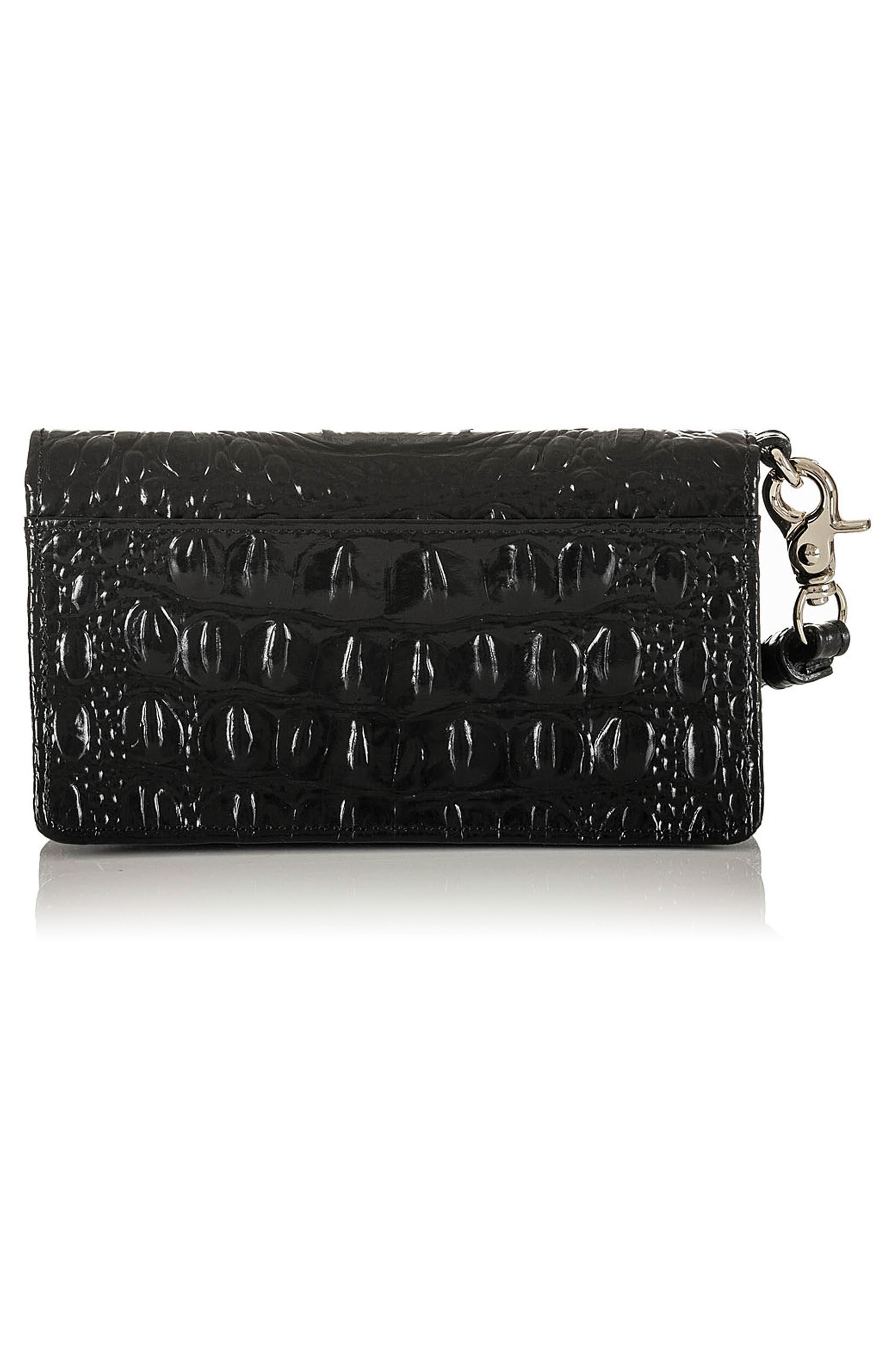 Debra Croc Embossed Leather Phone Wallet,                             Alternate thumbnail 3, color,                             001