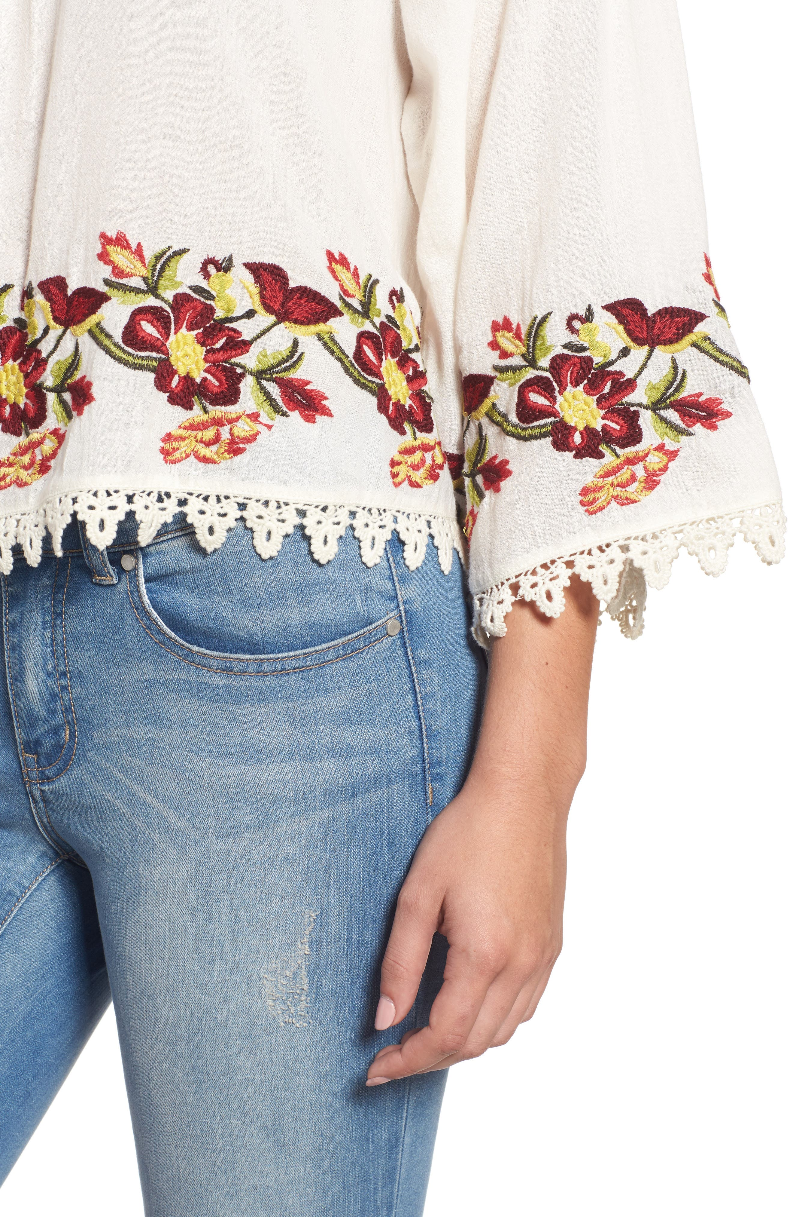 Embroidered Swing Blouse,                             Alternate thumbnail 4, color,                             902