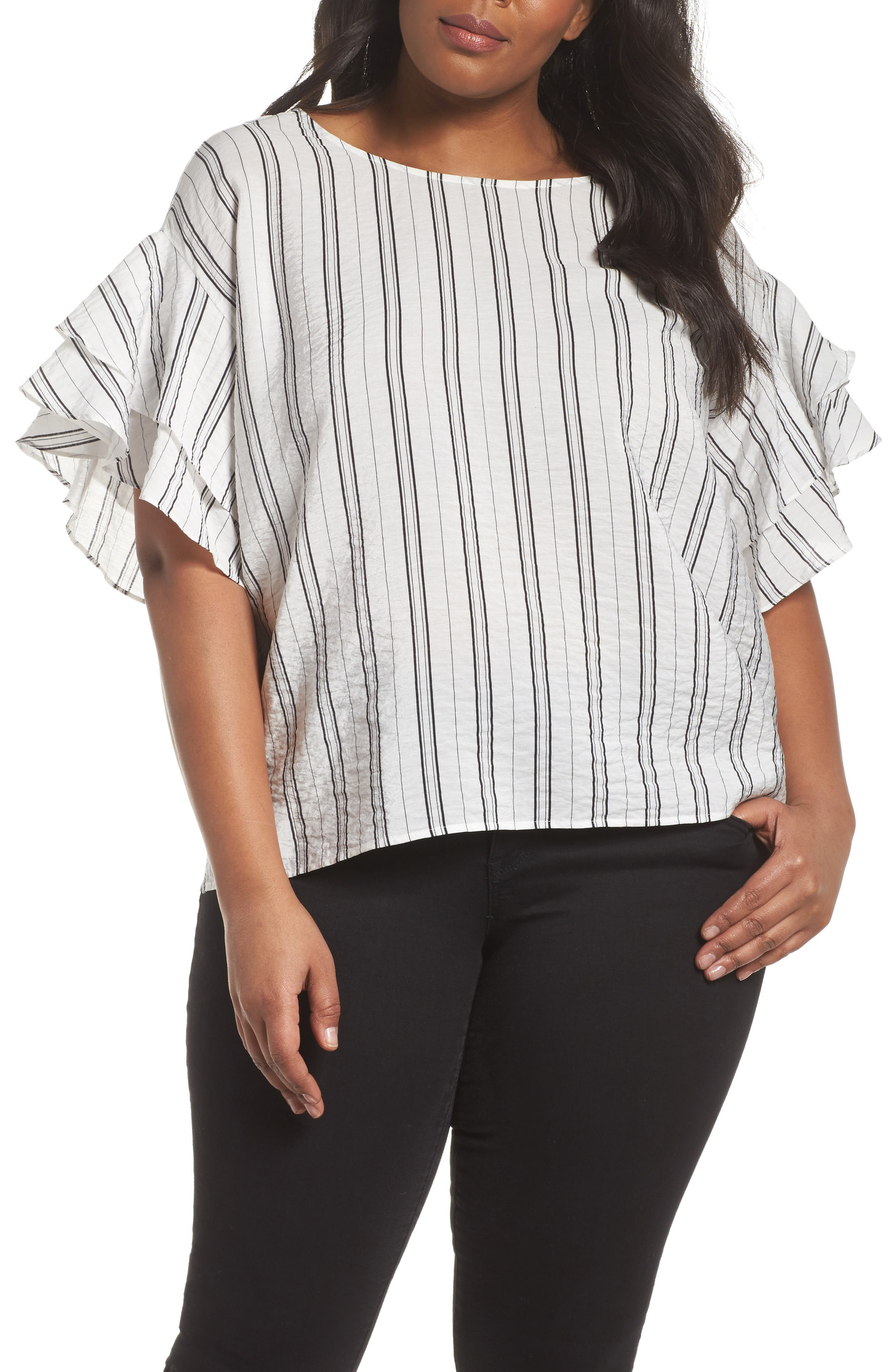 Tiered Ruffle Sleeve Stripe Blouse,                             Main thumbnail 1, color,