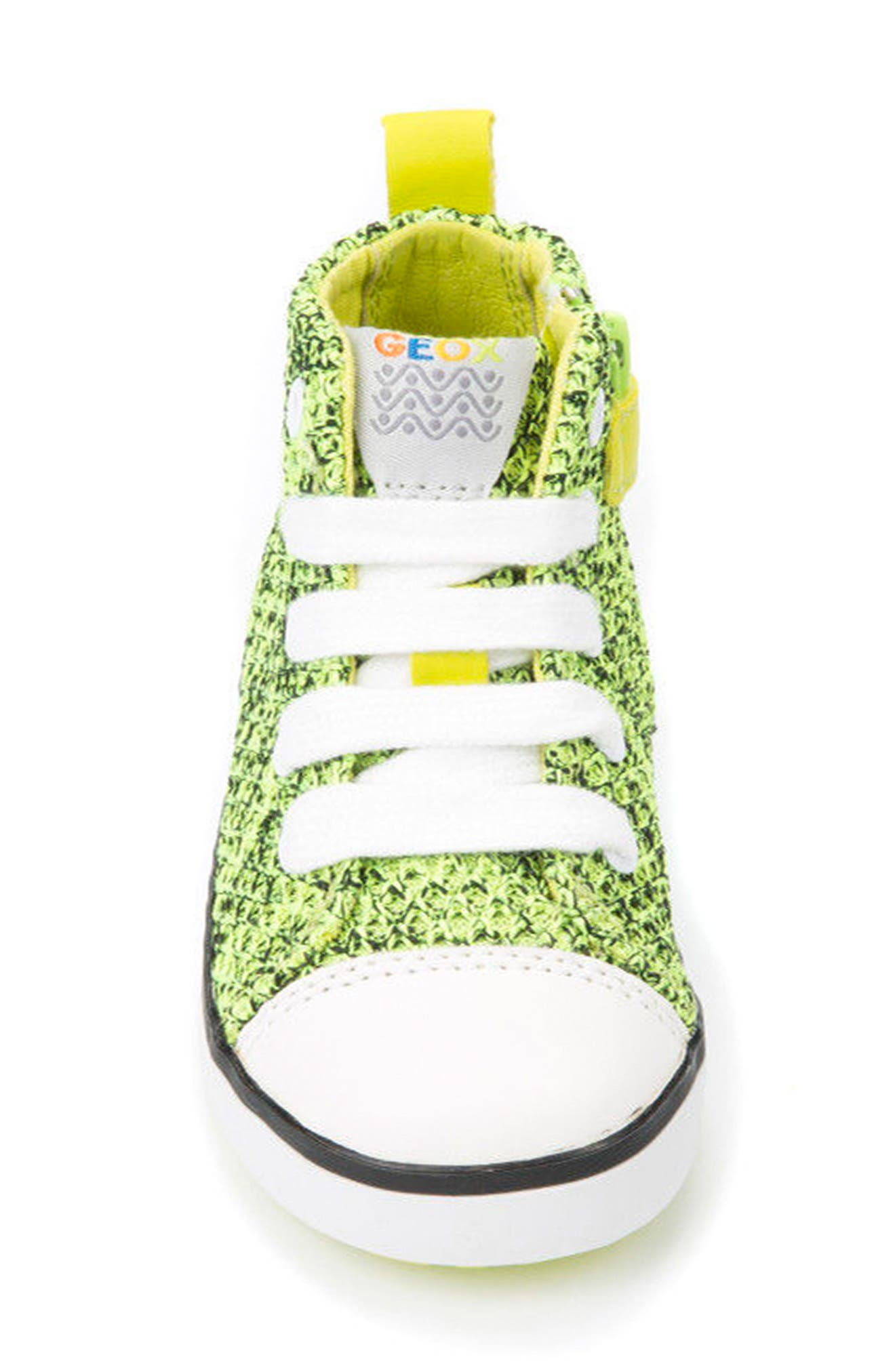 Kilwi Knit High Top Sneaker,                             Alternate thumbnail 4, color,                             LIME GREEN
