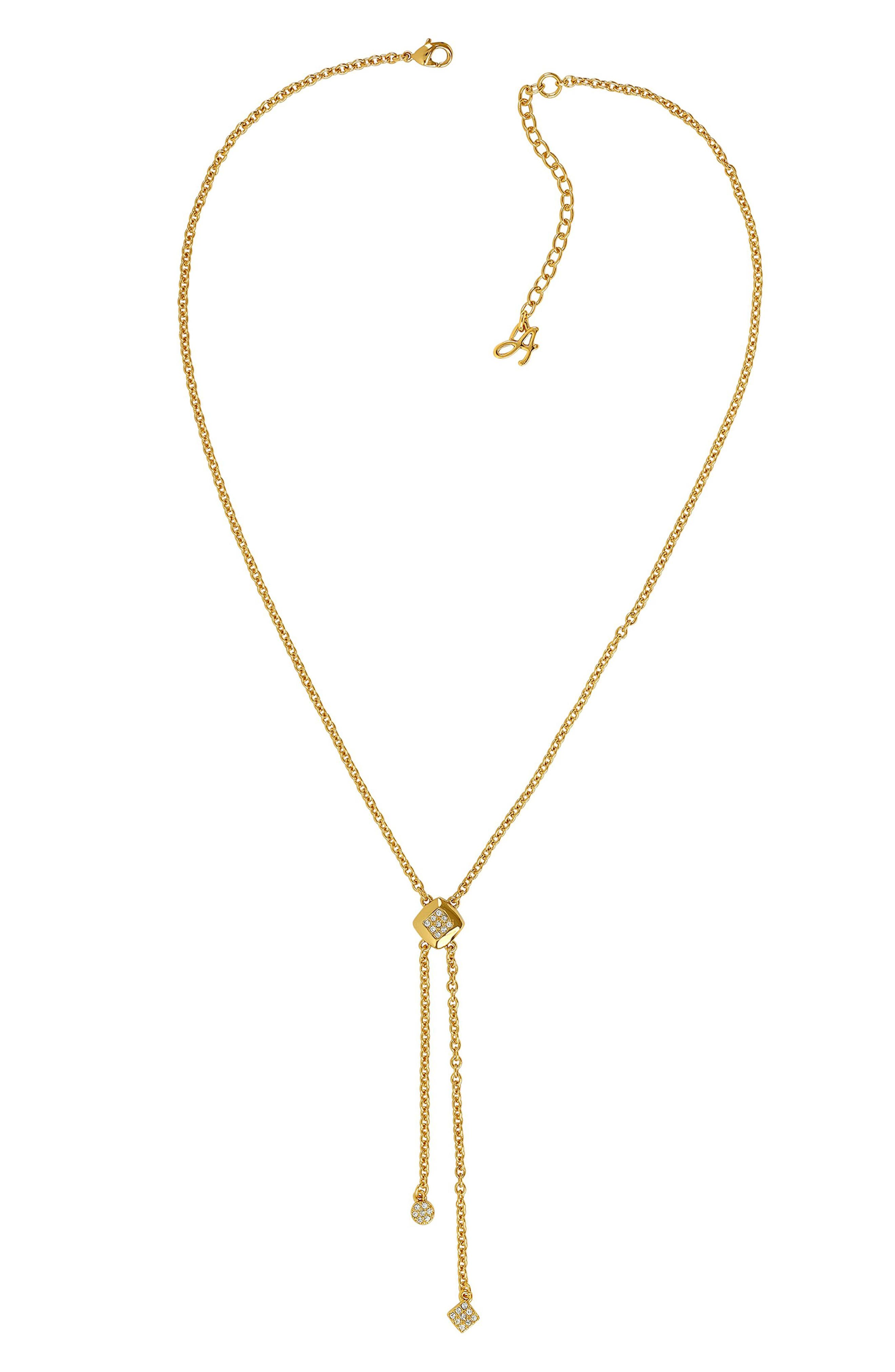 ADORÉE Pave Accent Y Necklace, 16 in Gold