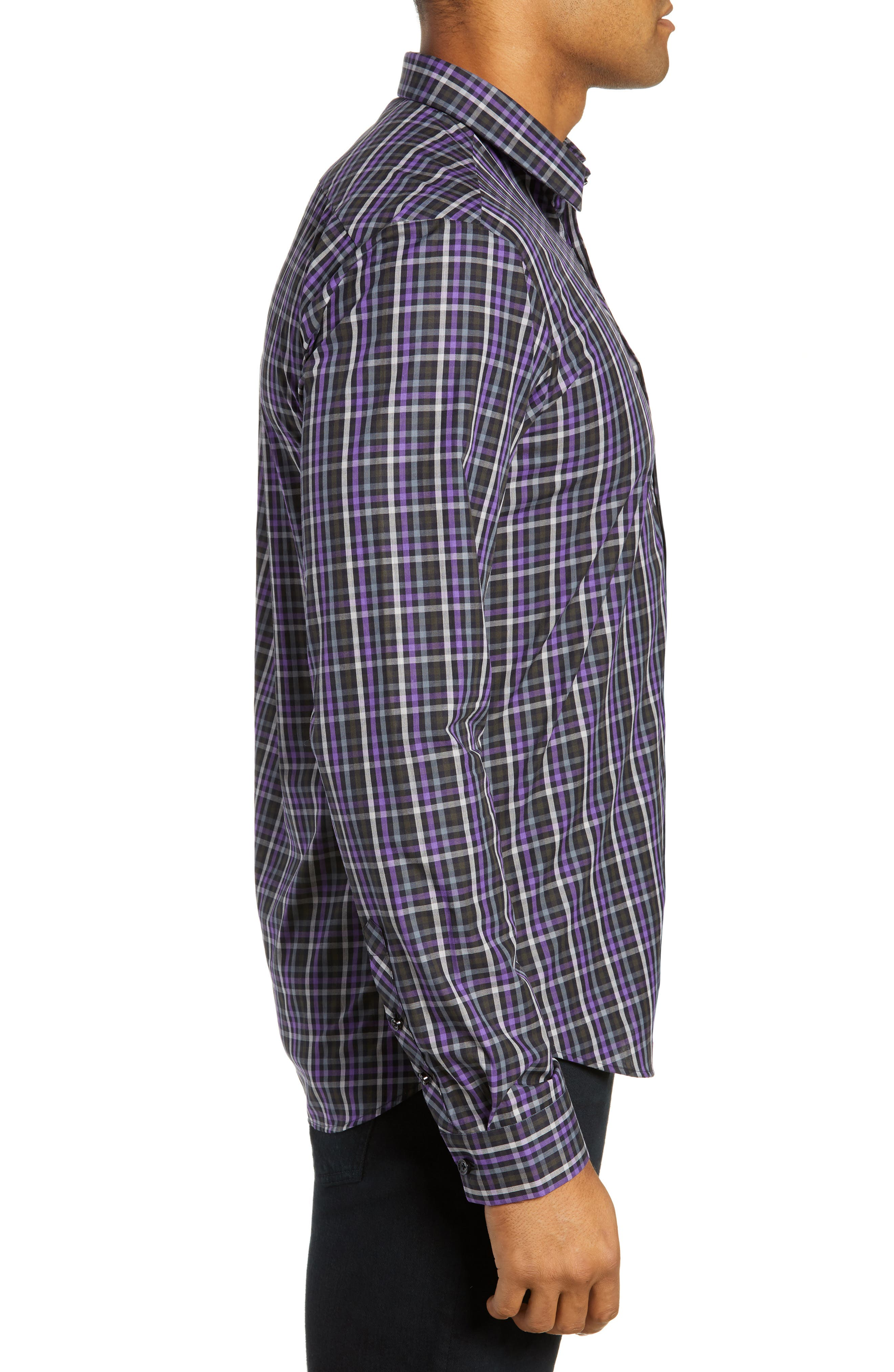 Trim Fit Sport Shirt,                             Alternate thumbnail 4, color,                             PURPLE - BLACK MULTI CHECK