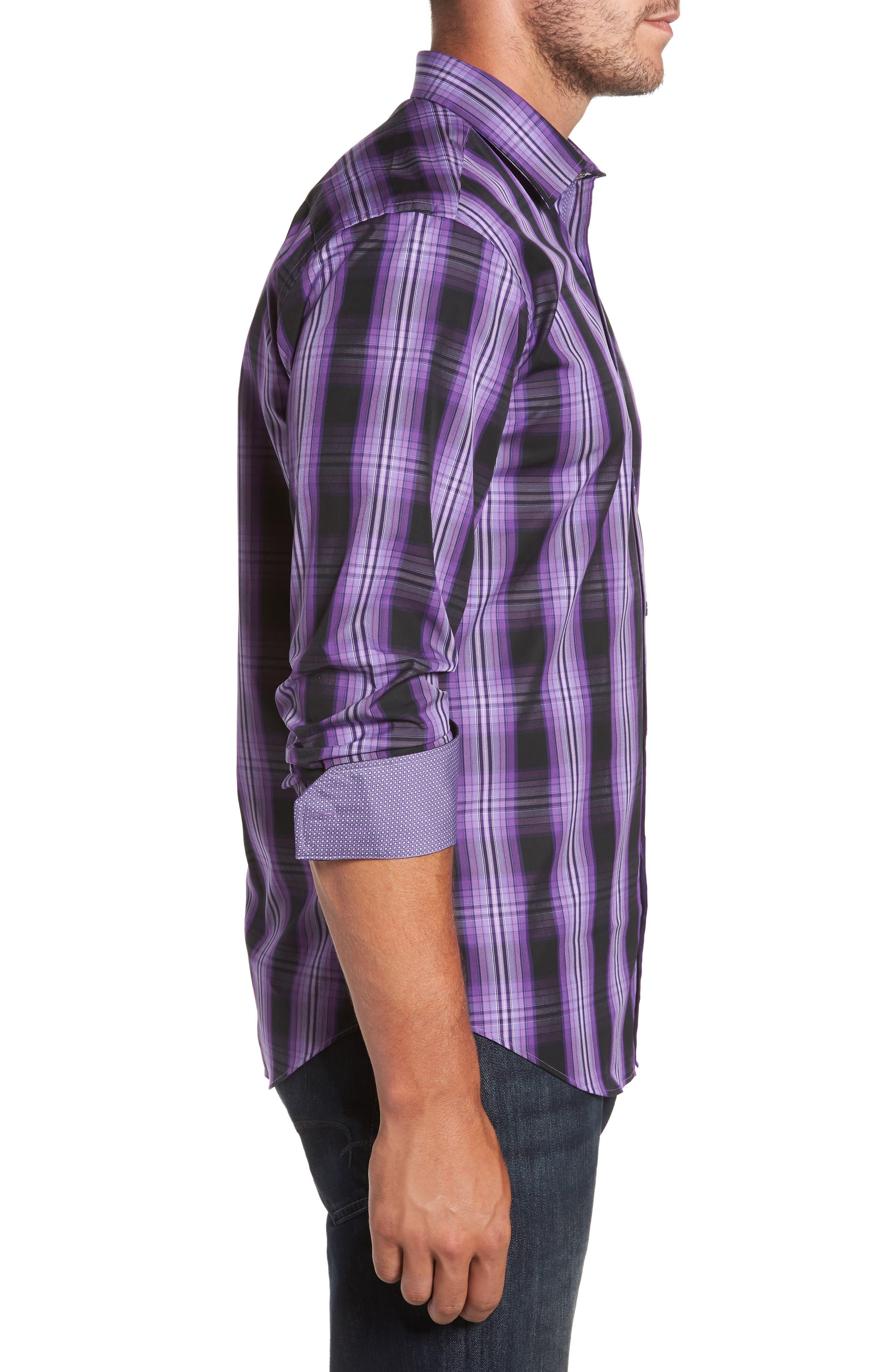 Slim Fit Gradient Plaid Sport Shirt,                             Alternate thumbnail 3, color,                             513