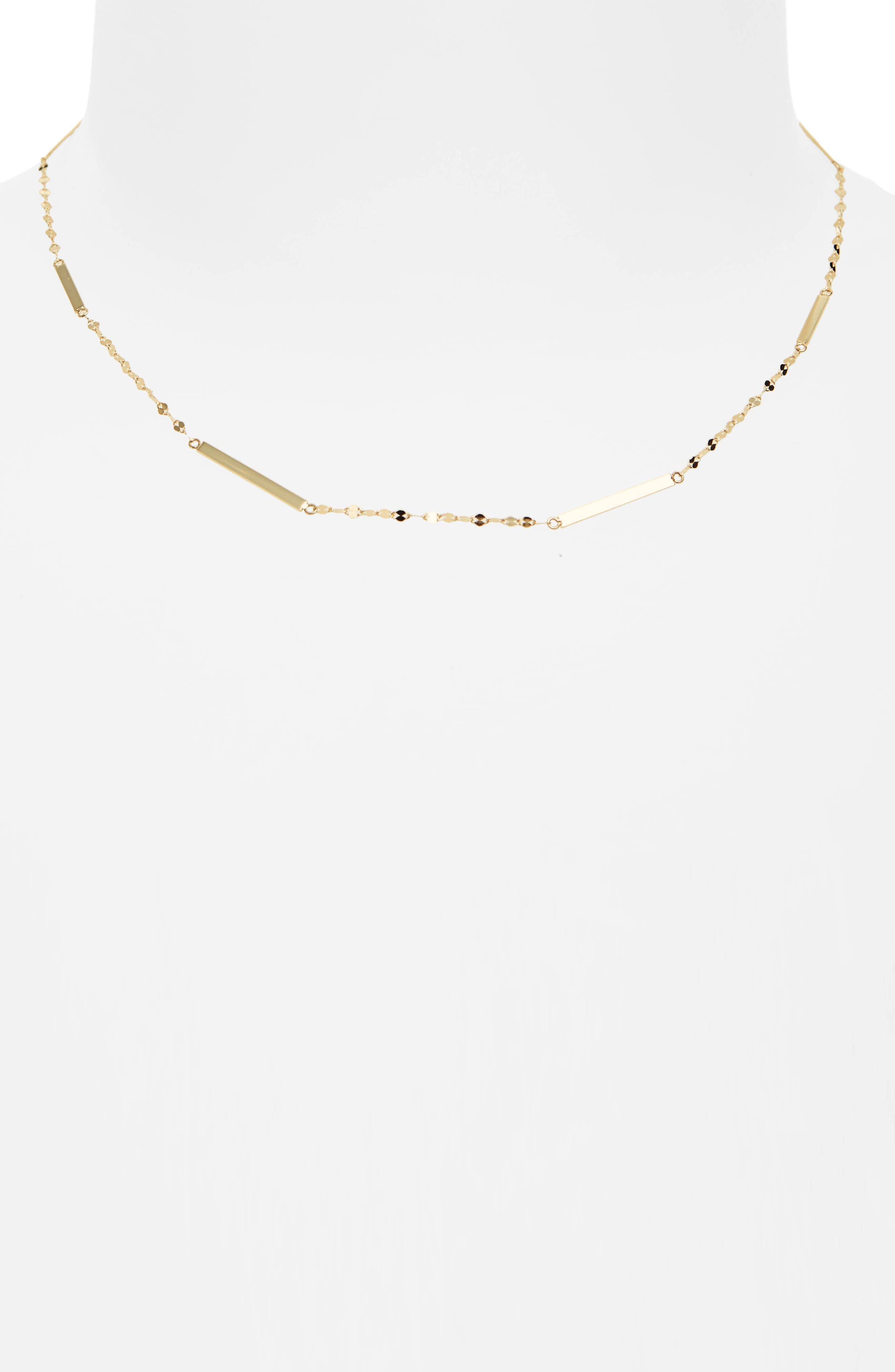 Short Bar Station Necklace,                         Main,                         color, YELLOW GOLD
