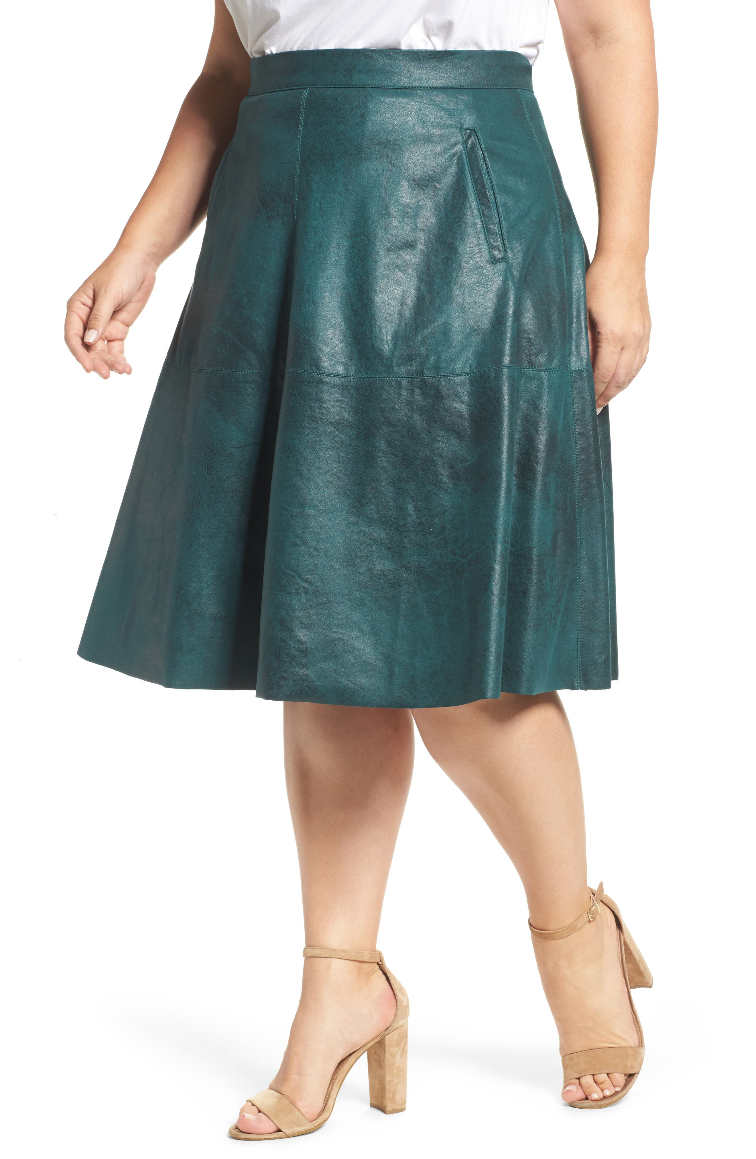 Stretch Faux Leather A-Line Skirt,                             Main thumbnail 2, color,